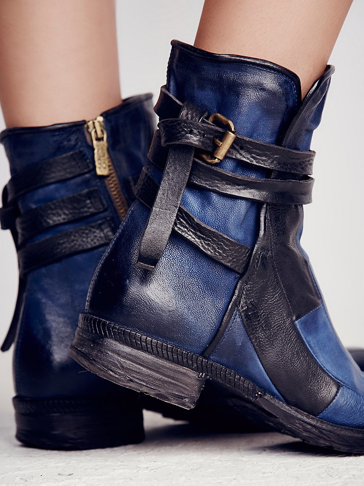 Free People Burke Patchwork Moto Boot In Blue Lyst
