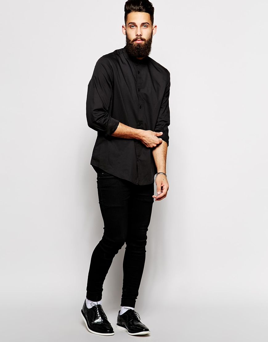 Lyst - Asos Smart Shirt In Long Sleeve With Grandad Collar in ...