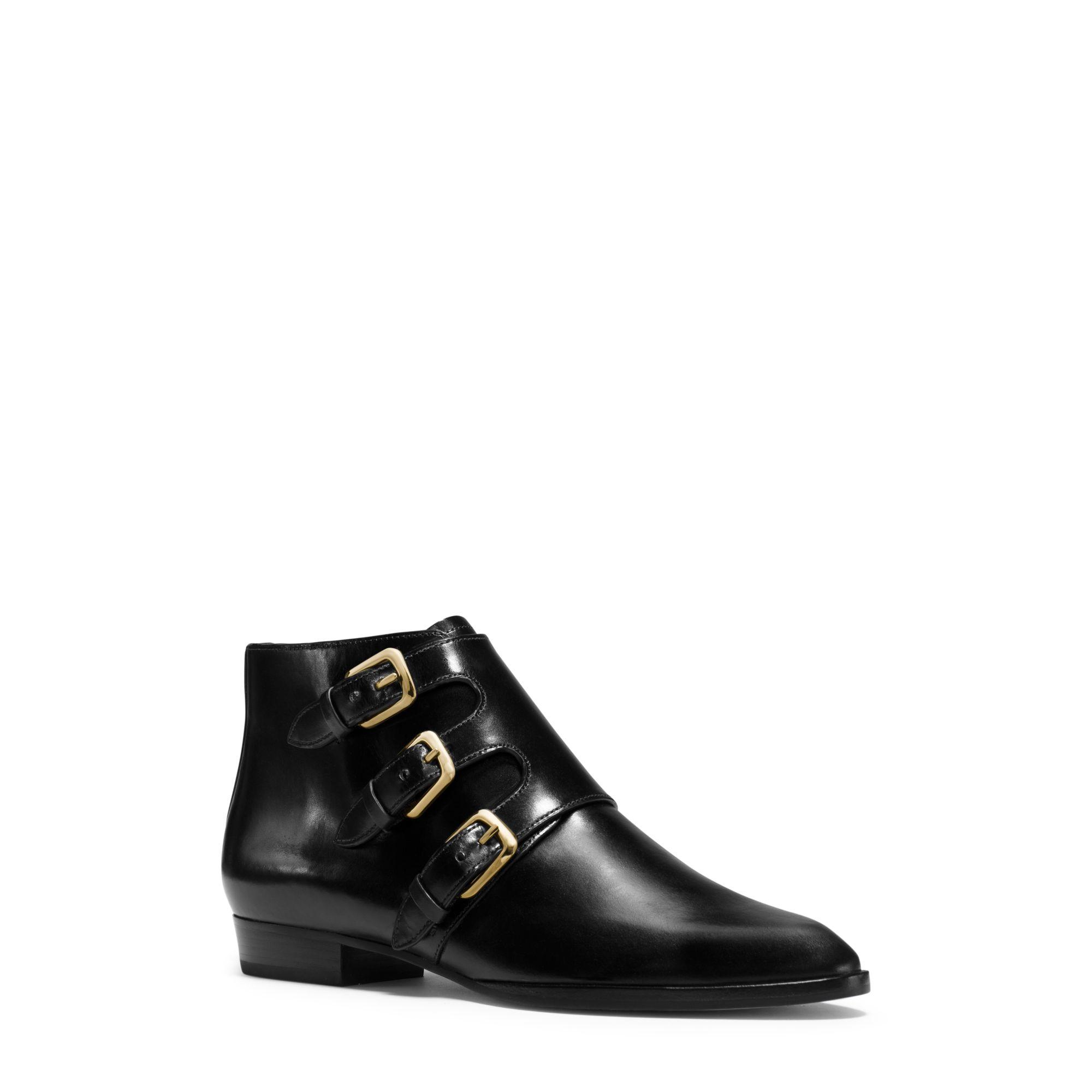 michael kors prudence leather ankle boot in black lyst. Black Bedroom Furniture Sets. Home Design Ideas