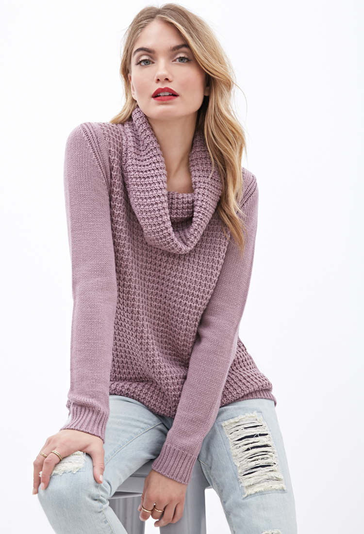 96a0ba070 Lyst - Forever 21 Contemporary Mixed-knit Cowl Neck Sweater in Purple