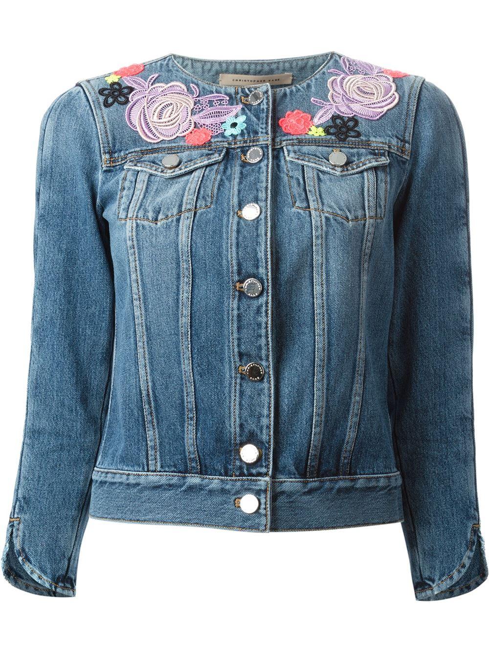 Christopher Kane Floral Broderie Denim Jacket In Blue Lyst