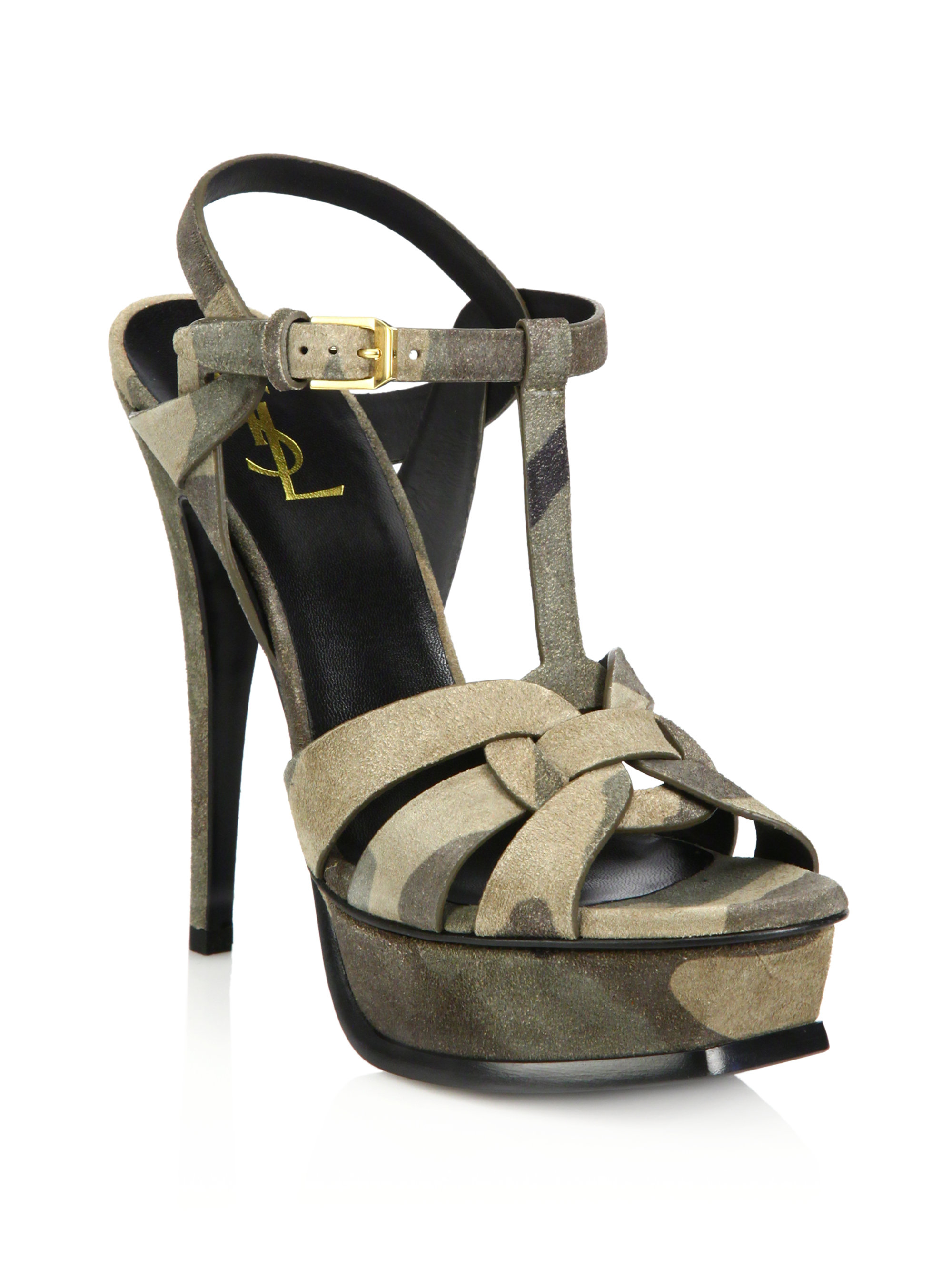 da9db125185 Saint Laurent Tribute Camouflage Suede Platform Sandals in Green - Lyst