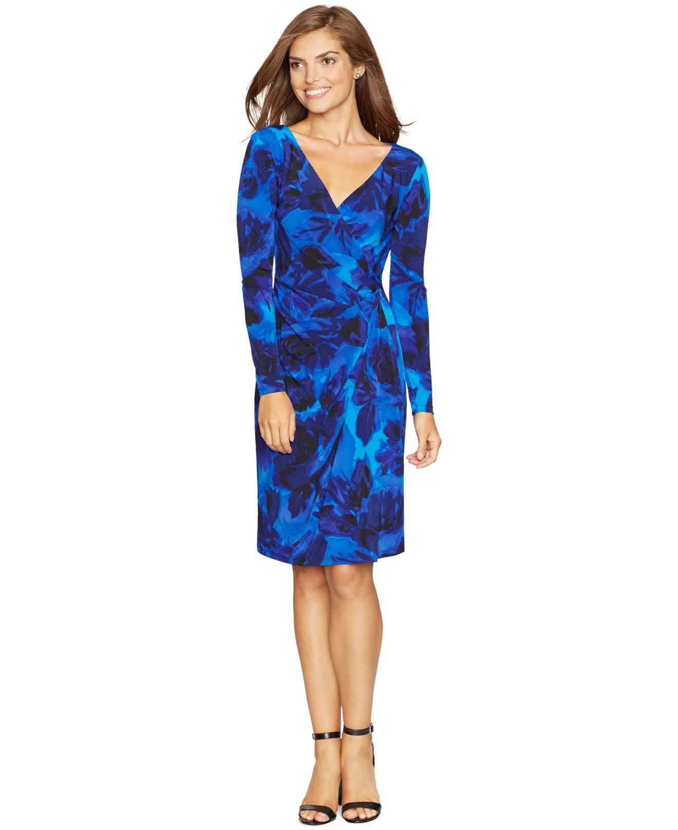 American Living Floral Print Surplice Dress In Blue Lyst