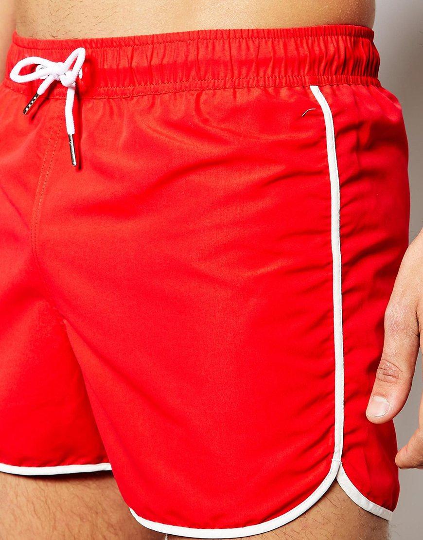 Asos Runner Swim Shorts In Short Length in Red for Men | Lyst