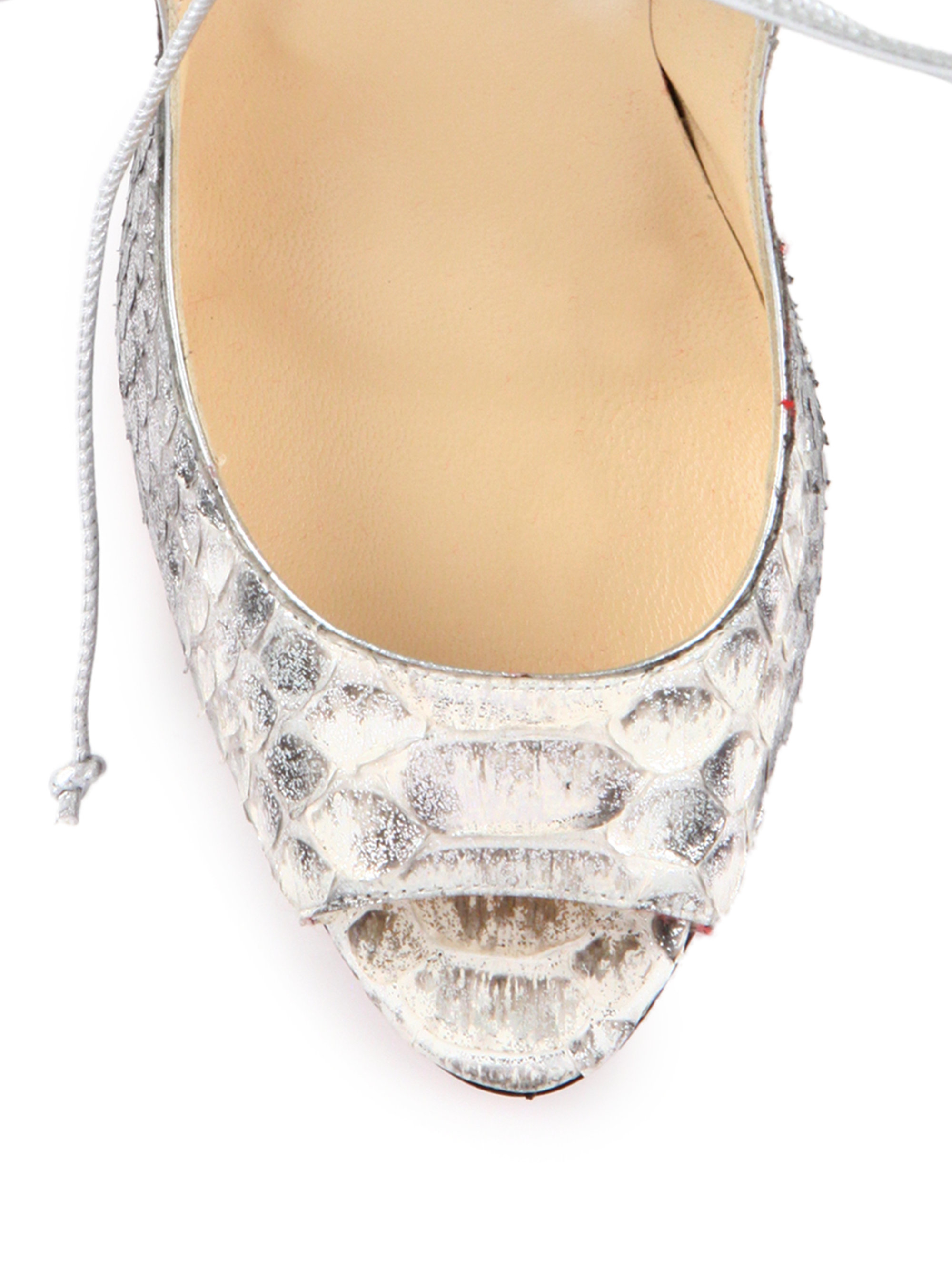 Christian louboutin Megavamp Python-Embossed Leather Pumps in Gray ...