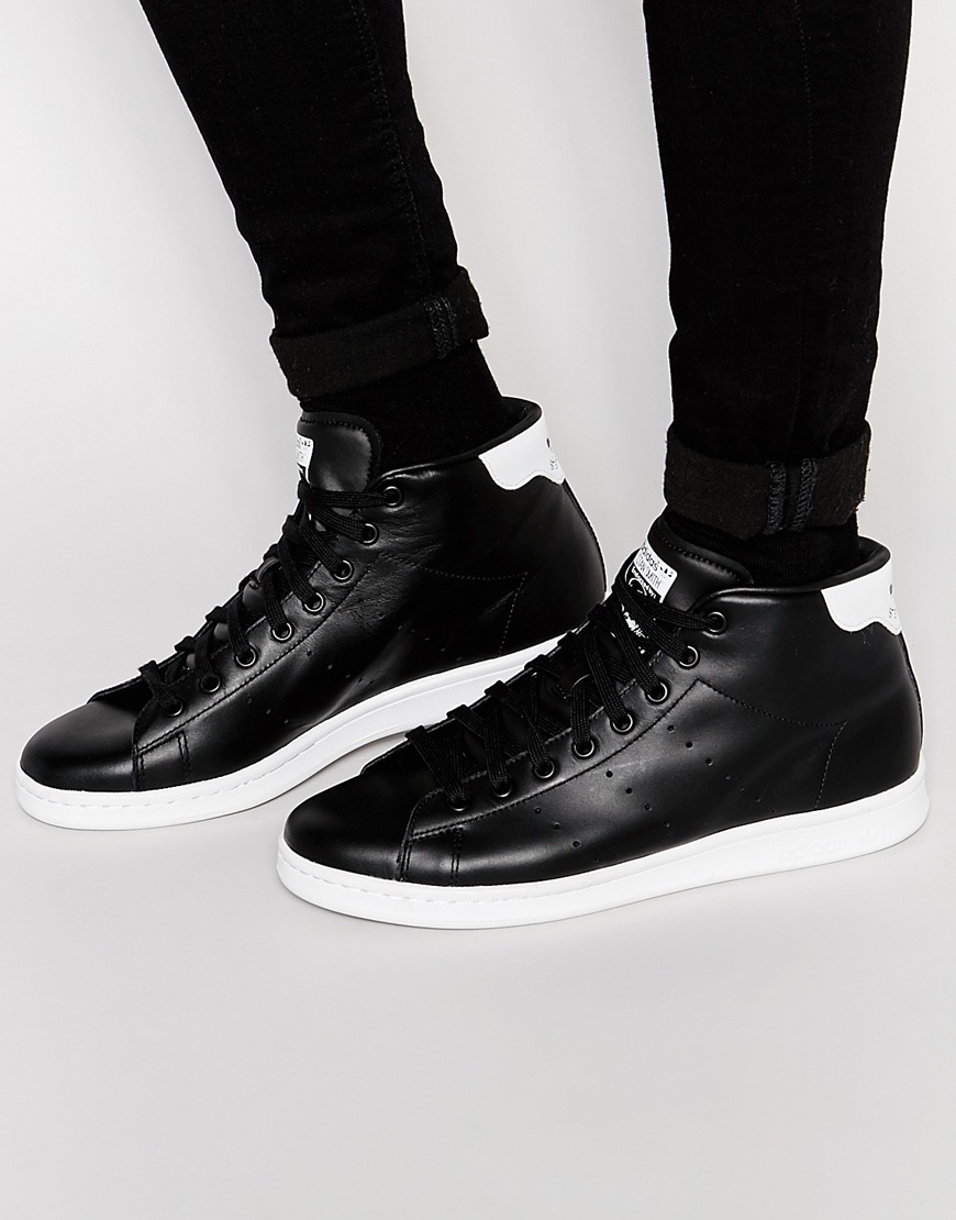 adidas Originals Leather Stan Smith Mid Trainers S75027 in Black ...