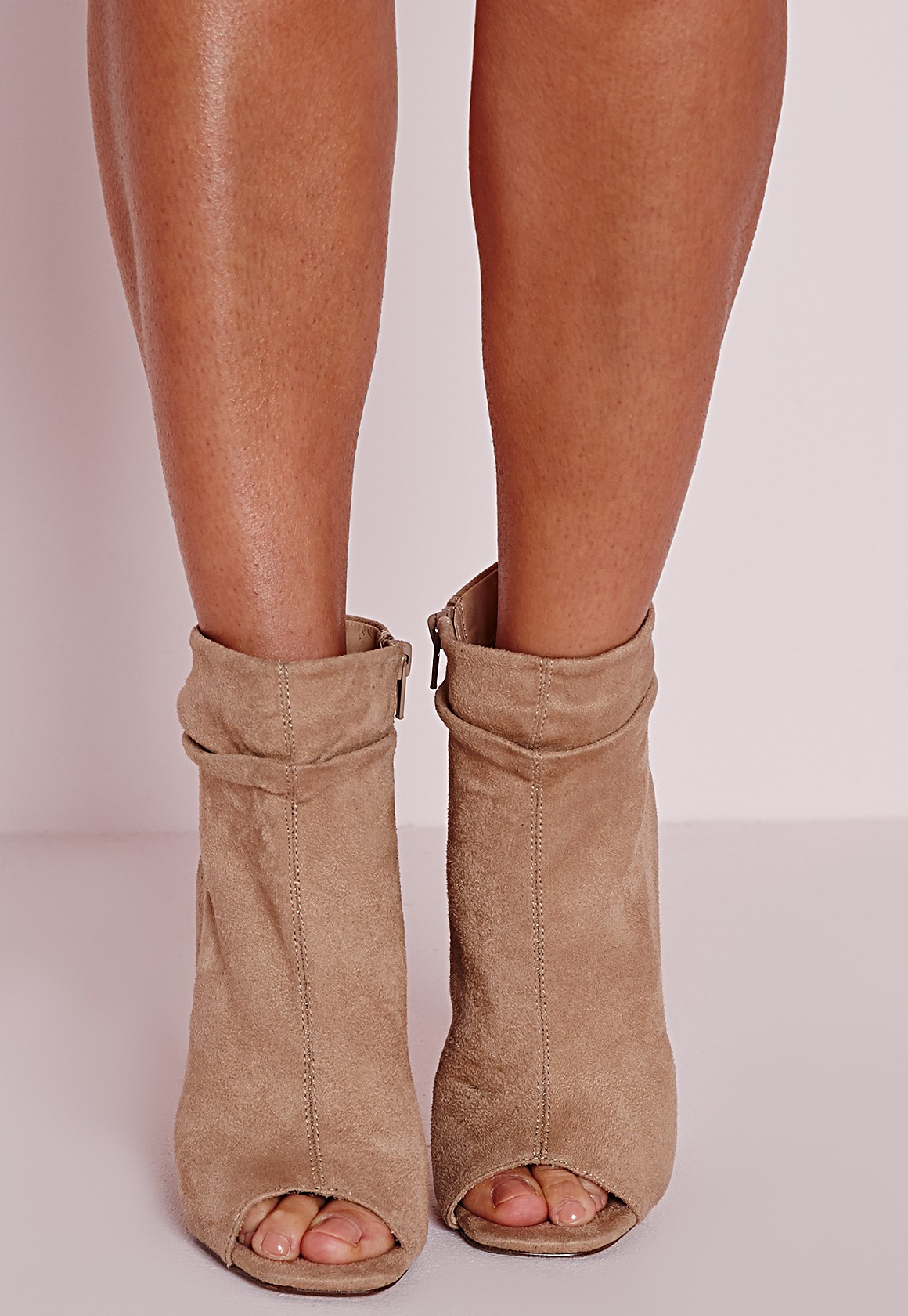 Missguided Ruched Detail Peep Toe Ankle Boots Nude in Natural - Lyst 2d51046da03a