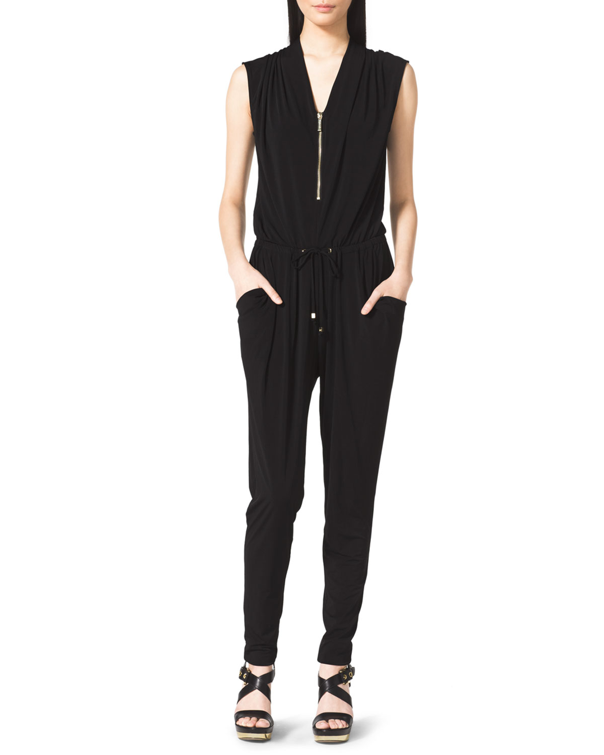 michael michael kors draped jersey jumpsuit in black lyst. Black Bedroom Furniture Sets. Home Design Ideas