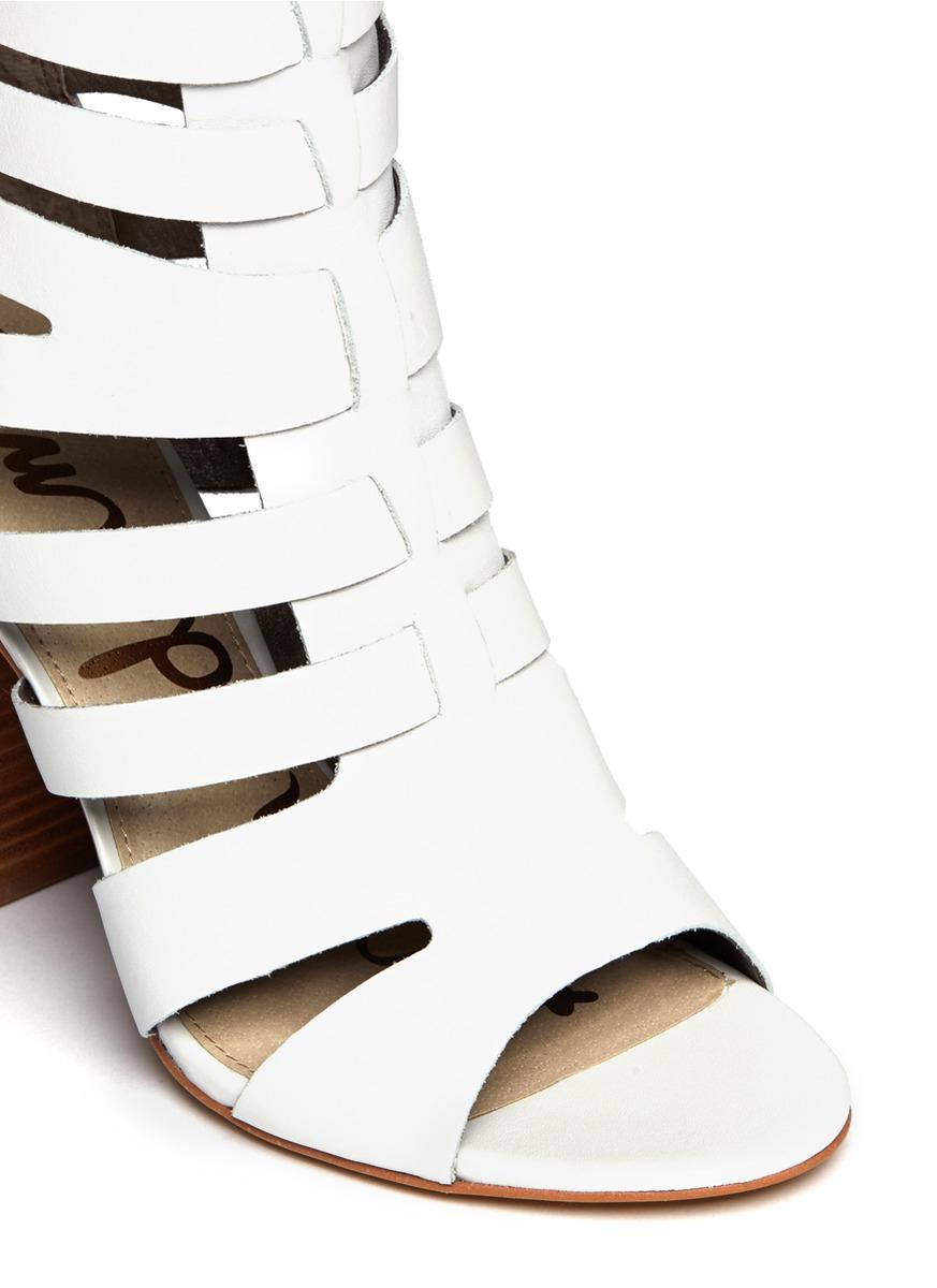 d1299f5d82c47 Lyst - Sam Edelman Yazmine Leather Caged Sandals in White