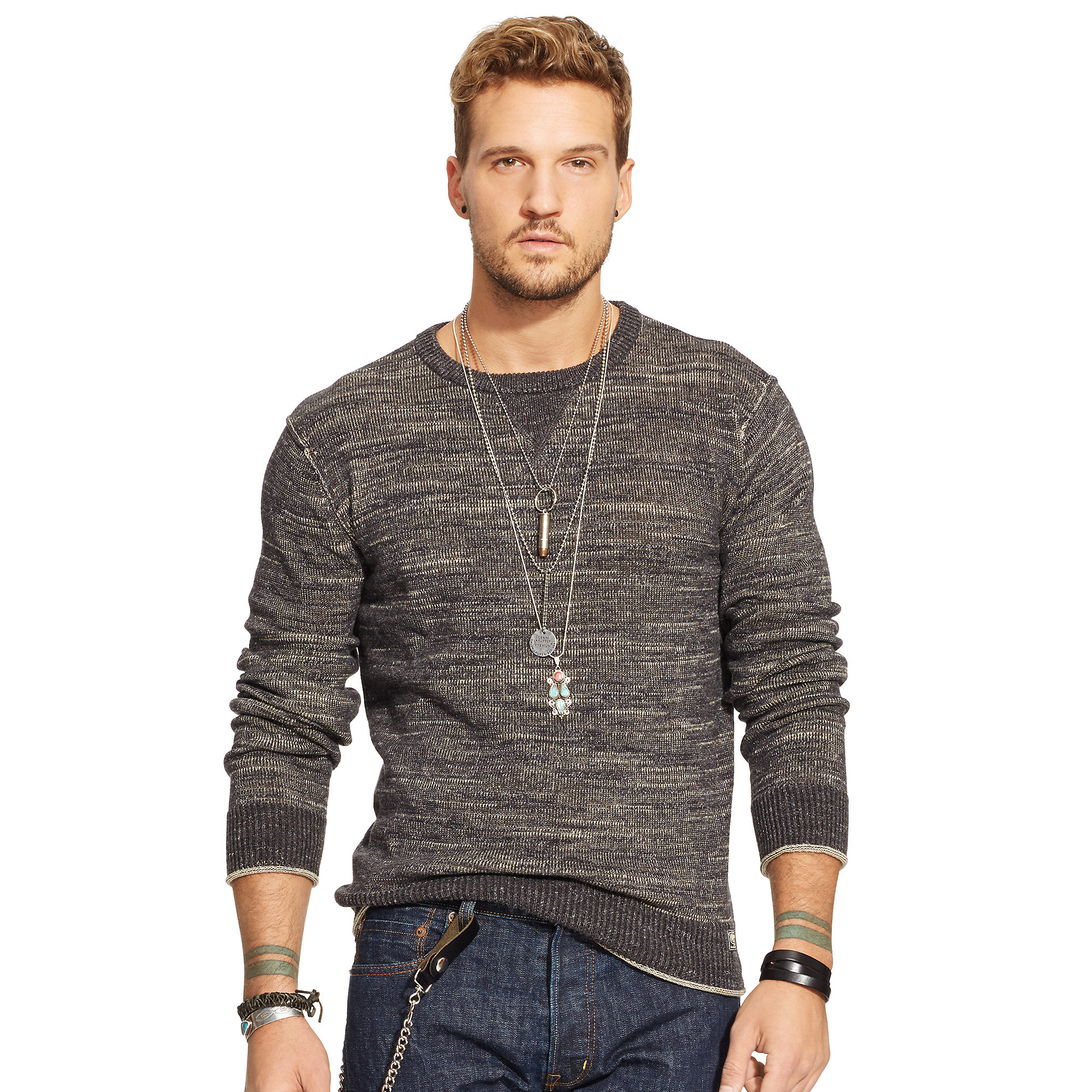 Denim & supply ralph lauren Cotton Crewneck Sweater in Gray for ...