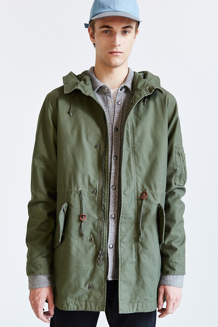 alpha industries x uo long fishtail parka in green for men lyst. Black Bedroom Furniture Sets. Home Design Ideas