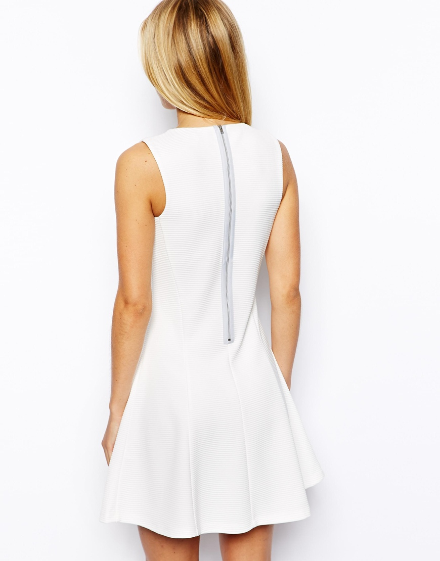 5eb8fdfd45 Lyst - ASOS Ribbed Fit And Flare Skater Dress in White