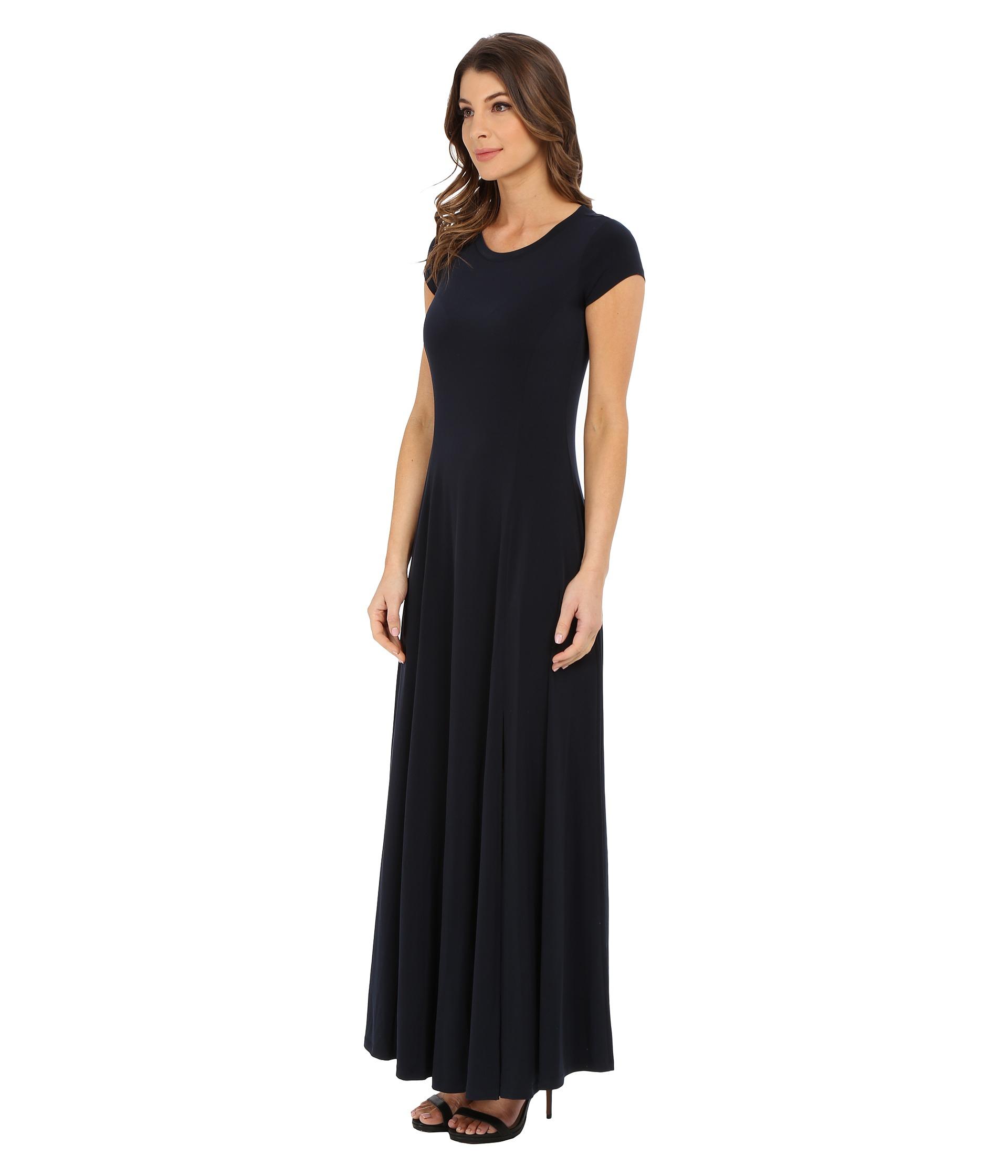 Lyst Michael Michael Kors Cap Sleeve Slit Maxi Dress In Blue