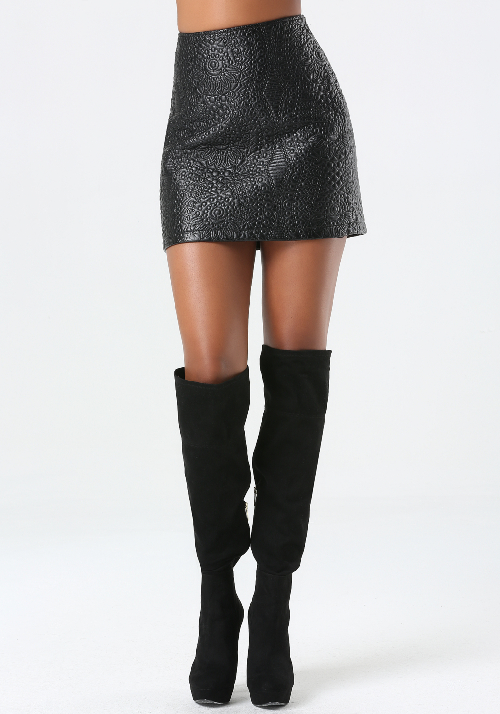 bebe embossed faux leather skirt in black lyst