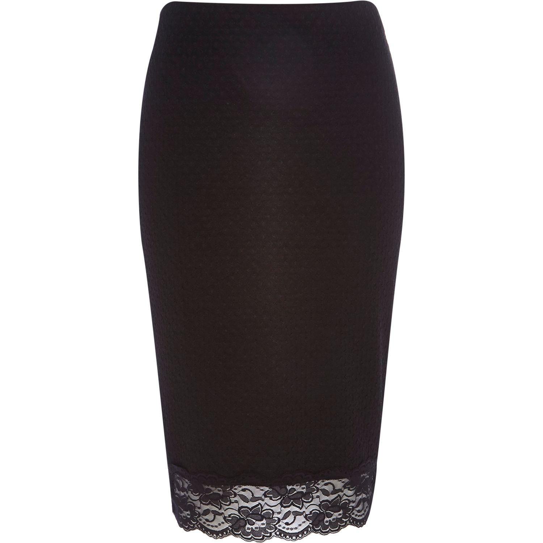 river island black lace trim pencil skirt in black lyst