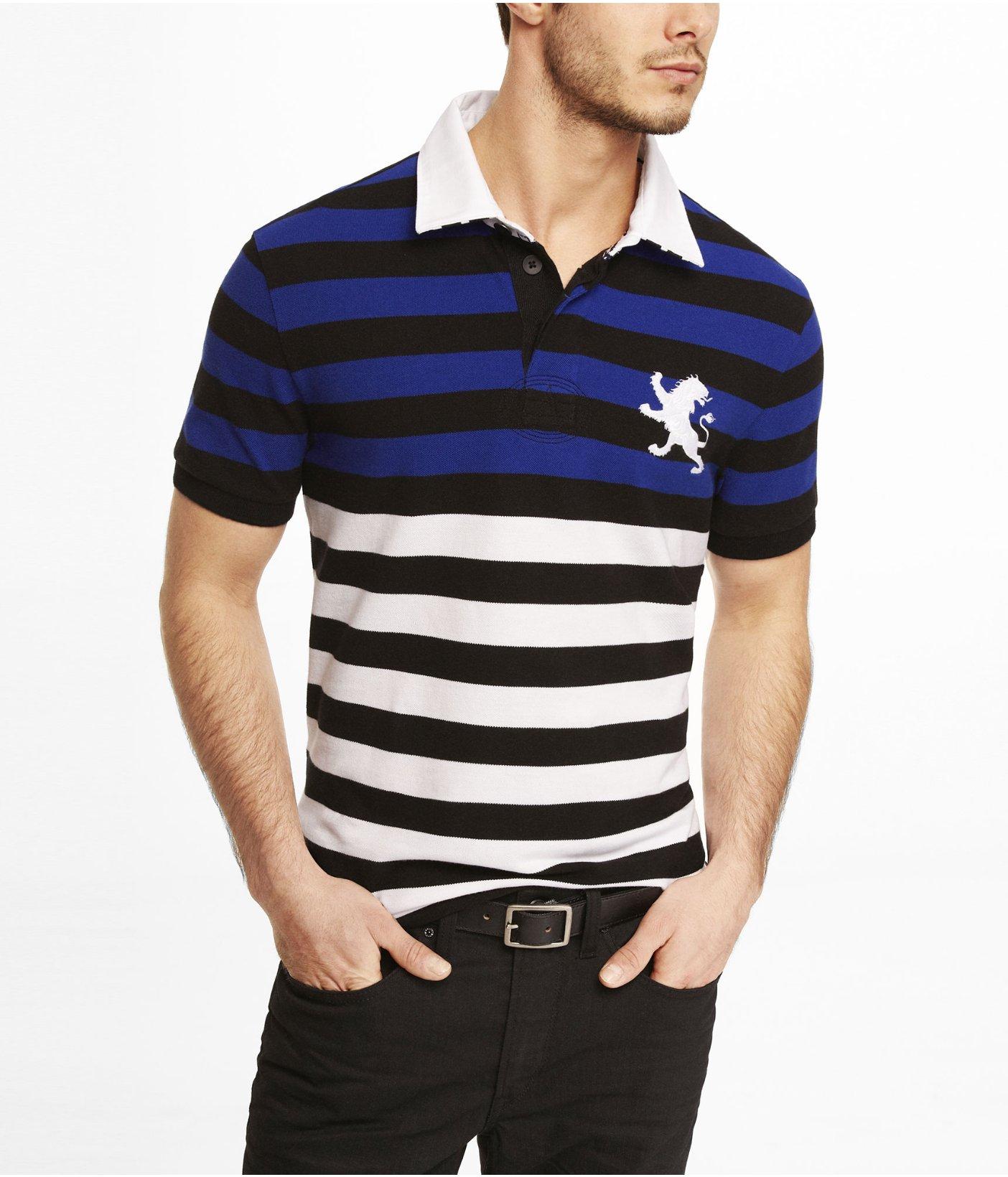 Lyst Express Color Block Stripe Large Lion Polo For Men