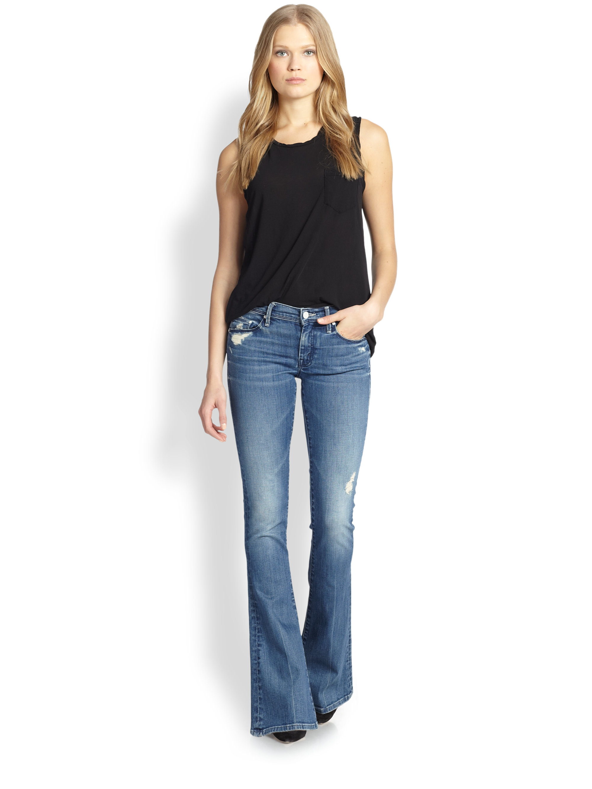 Mother The Cruiser Distressed Flare Jeans in Blue | Lyst