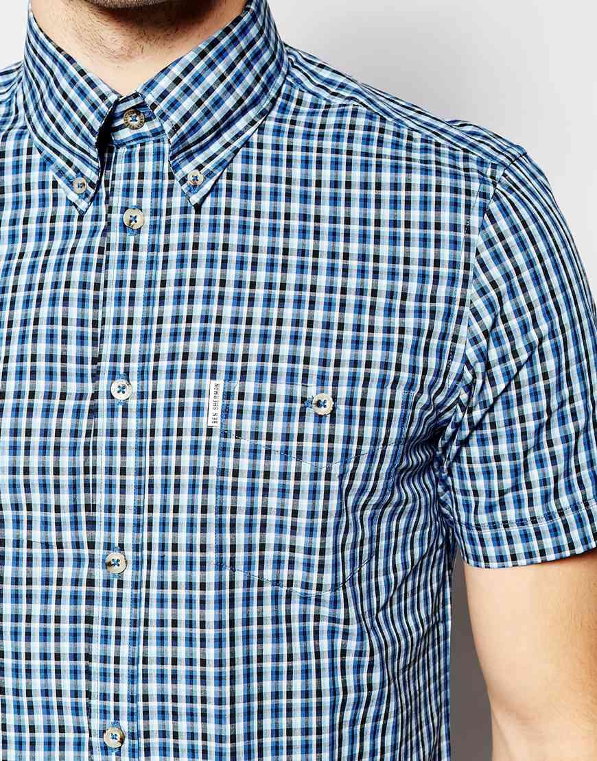 Lyst Ben Sherman Short Sleeve Mini Check Shirt In Blue