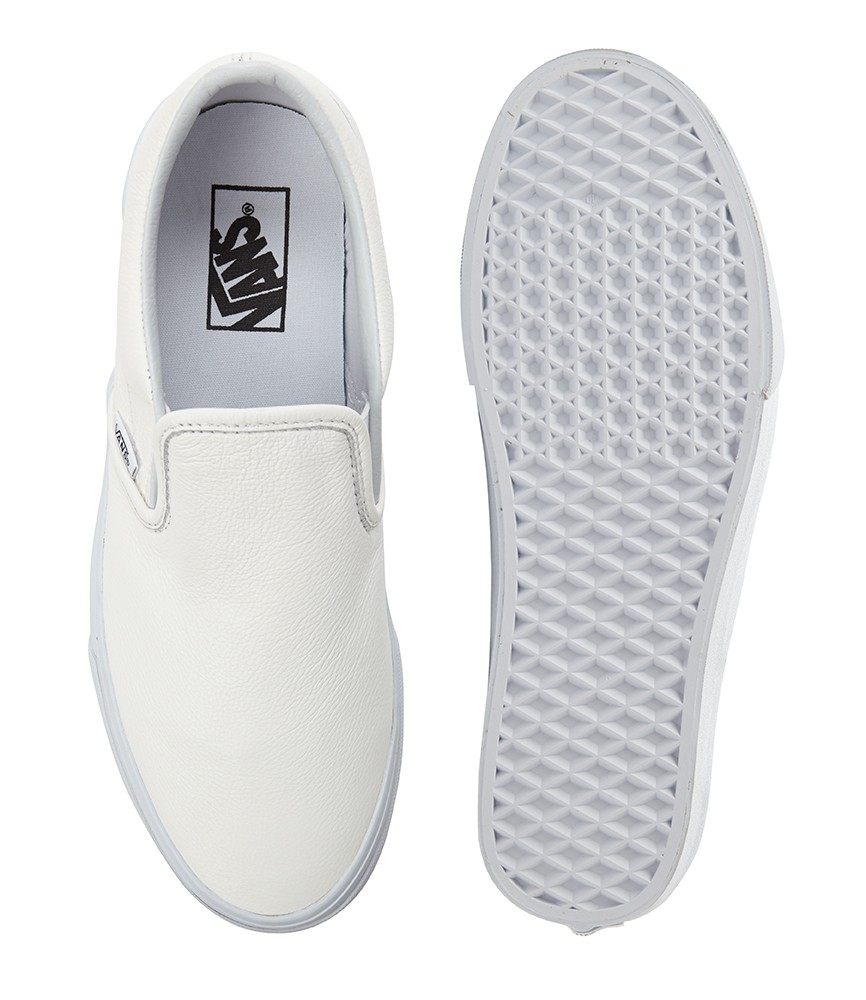 aeac2892d56ed7 Lyst - Vans Classic Leather Slip-On Sneakers in White for Men