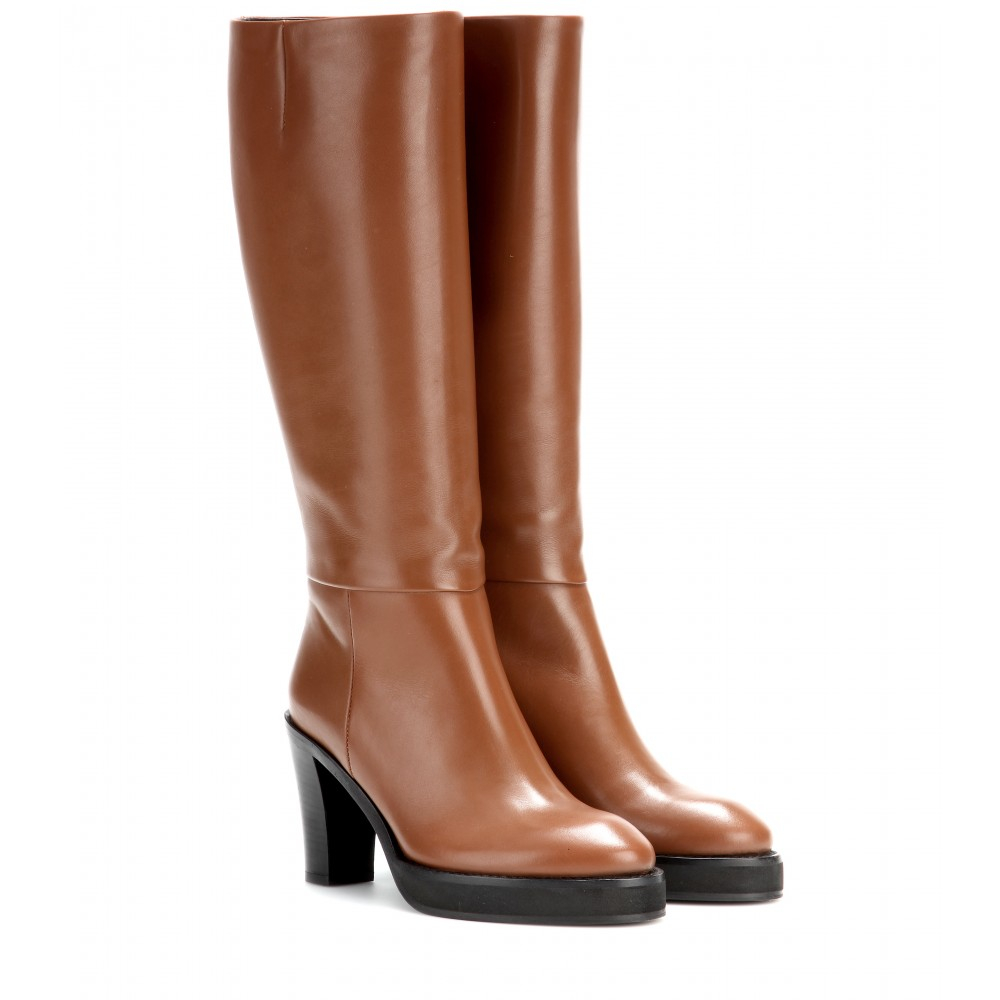 Acne Studios Ingrid Leather Boots in Brown