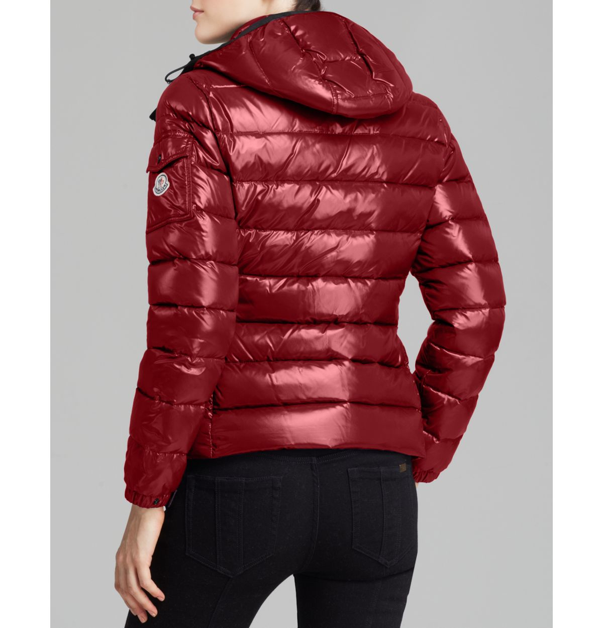 a45669a60f93 Lyst - Moncler Bady Lacquer Hooded Short Down Coat in Red