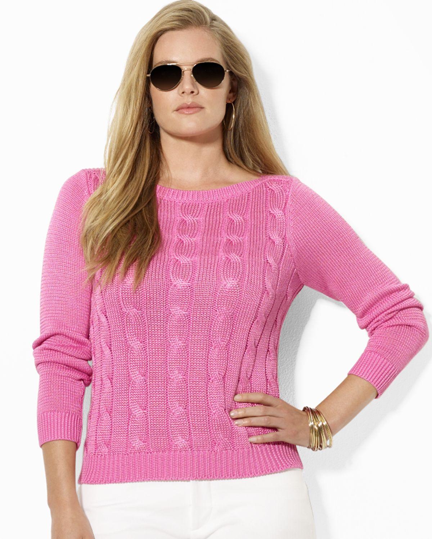 Ralph lauren Lauren Plus Boat Neck Cable Knit Sweater in Pink | Lyst