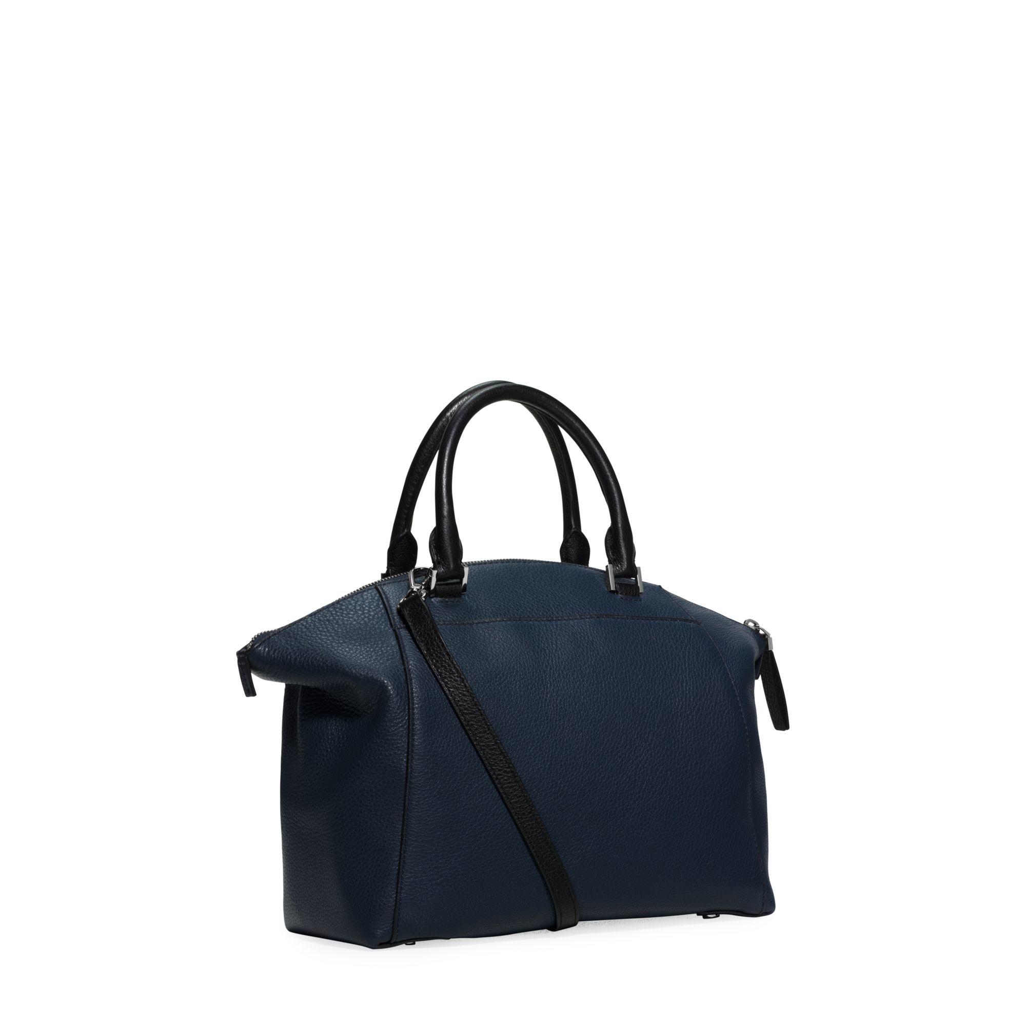 405503c71325 ... spain lyst michael kors riley medium two tone leather satchel in blue  2c9eb 57c41