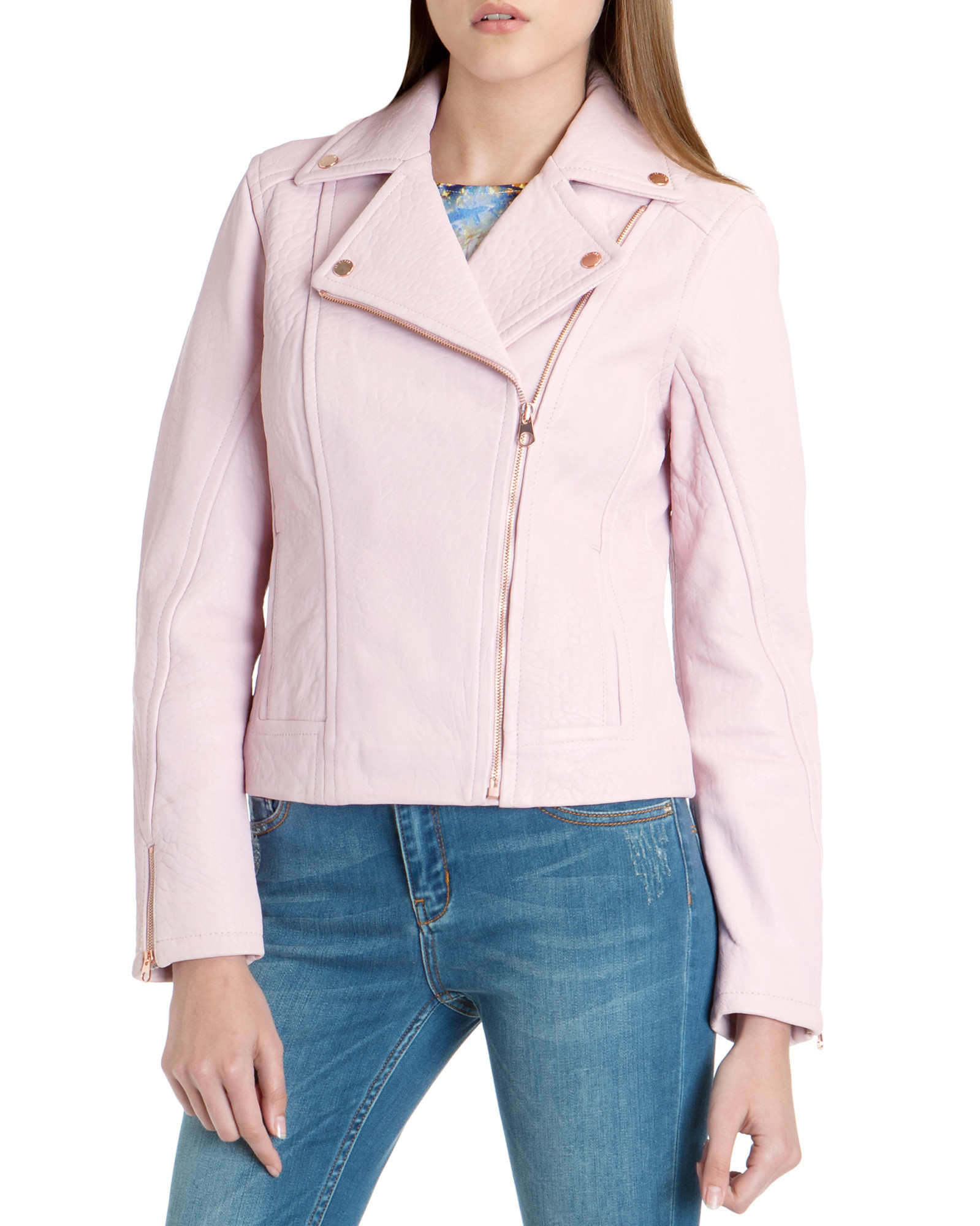 79e1c6135b4c8 Ted Baker Coty Leather Biker Jacket in Pink - Lyst