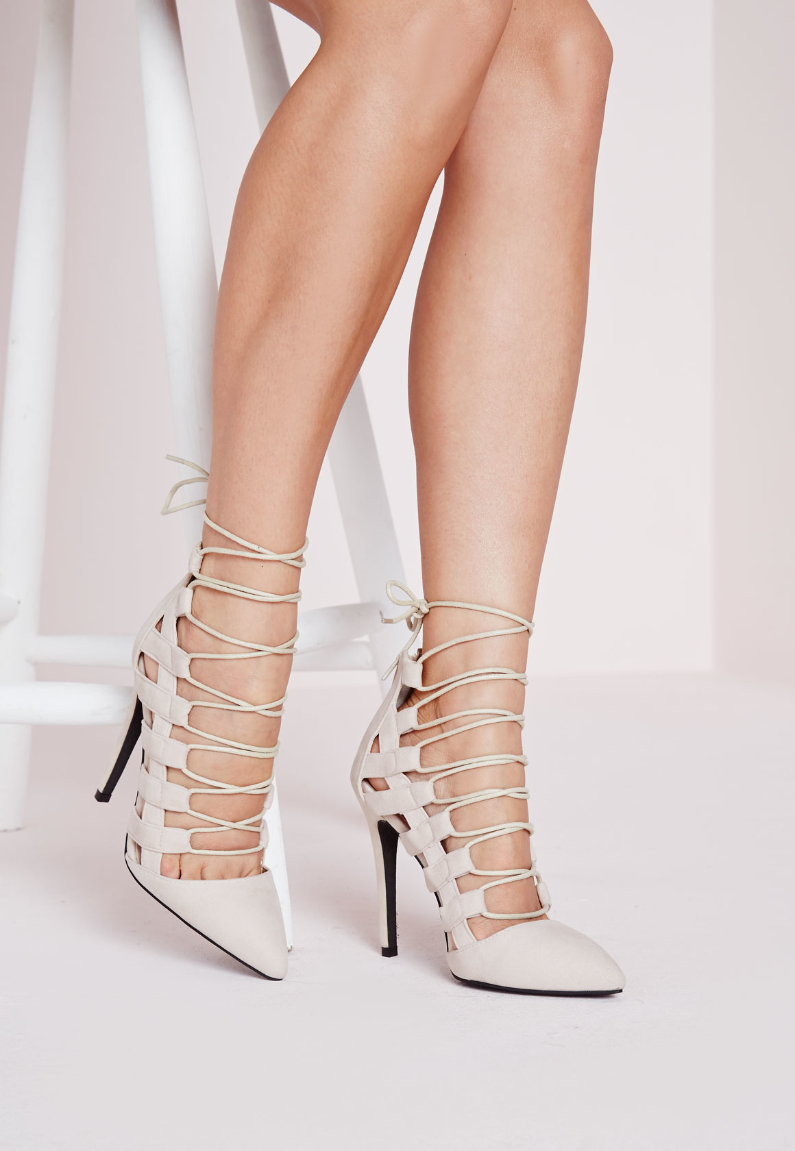 Lyst - Missguided Pointed Toe Lace Up Court Shoes Nude in Natural