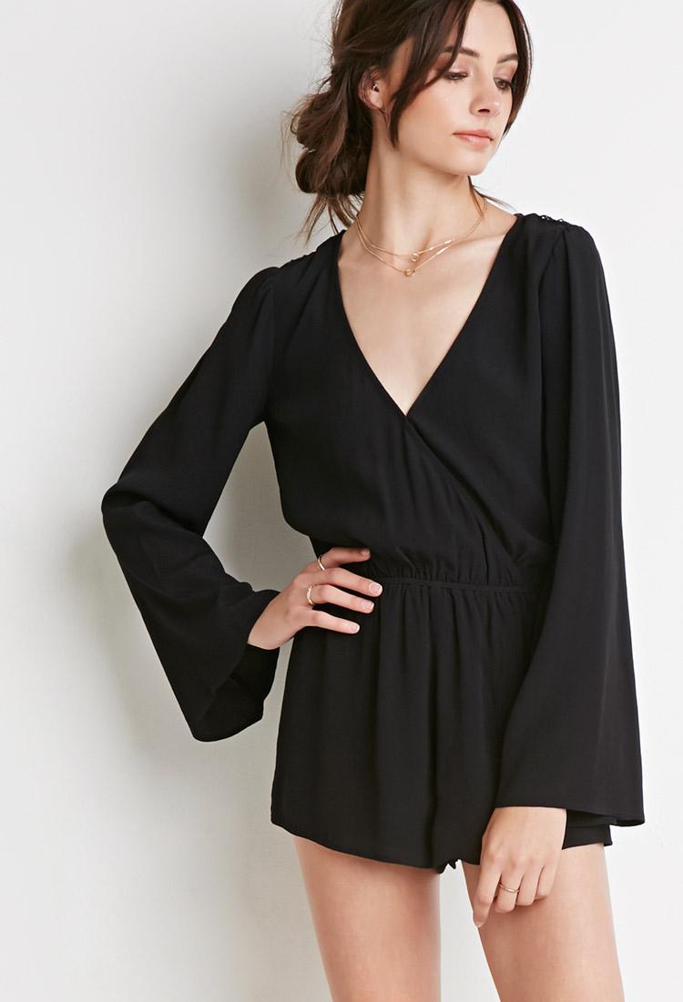 790732ba8381 Lyst - Forever 21 Crochet Trim Bell-sleeved Romper in Black