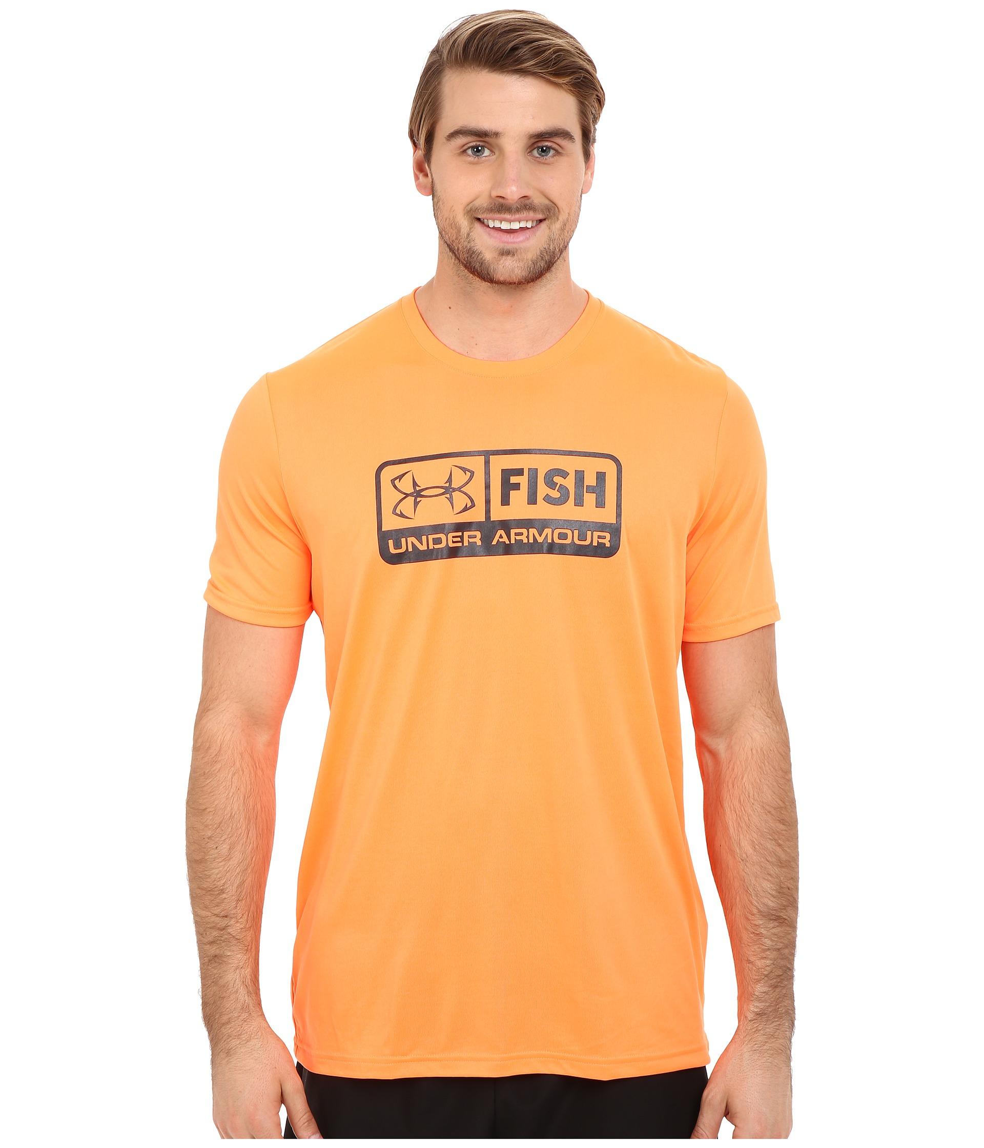 Lyst under armour ua fish tech short sleeve in orange for Under armour men s ua fish hunter short sleeve shirt
