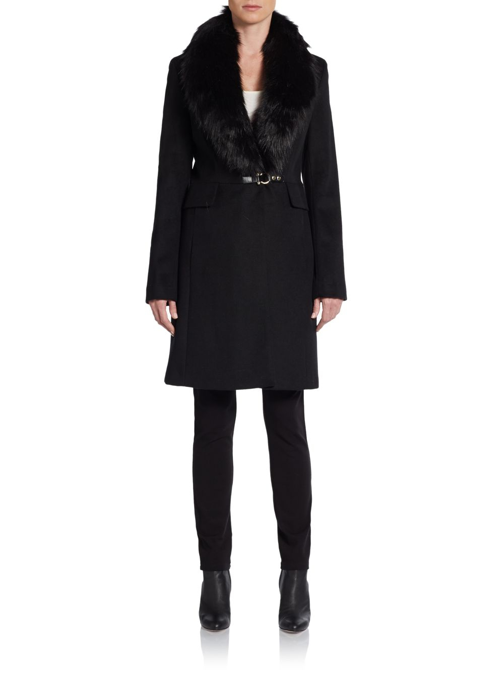 Ivanka Trump Synthetic Faux Fur Collar Wool Blend Coat In