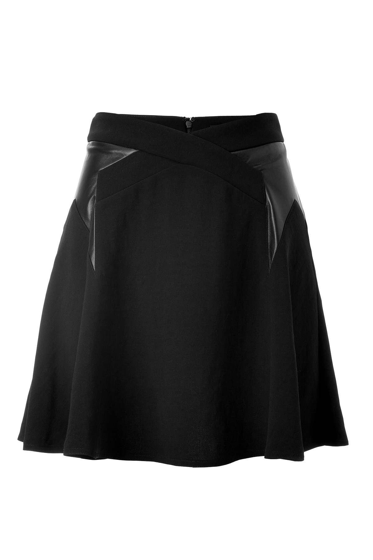 the kooples a line skirt with leather trim in black lyst