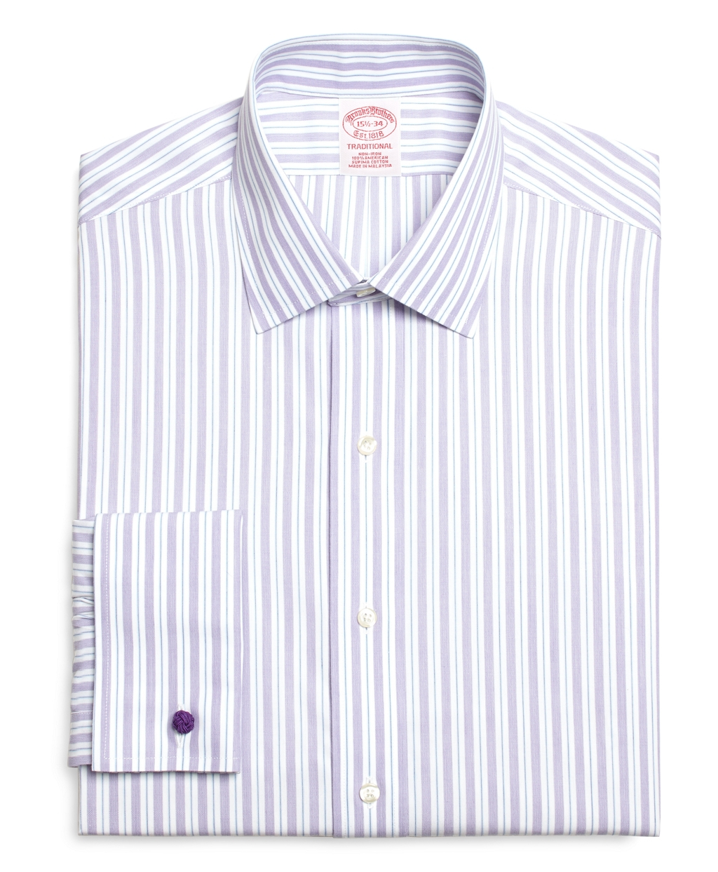 Brooks brothers non iron milano fit split stripe french for Purple french cuff dress shirt