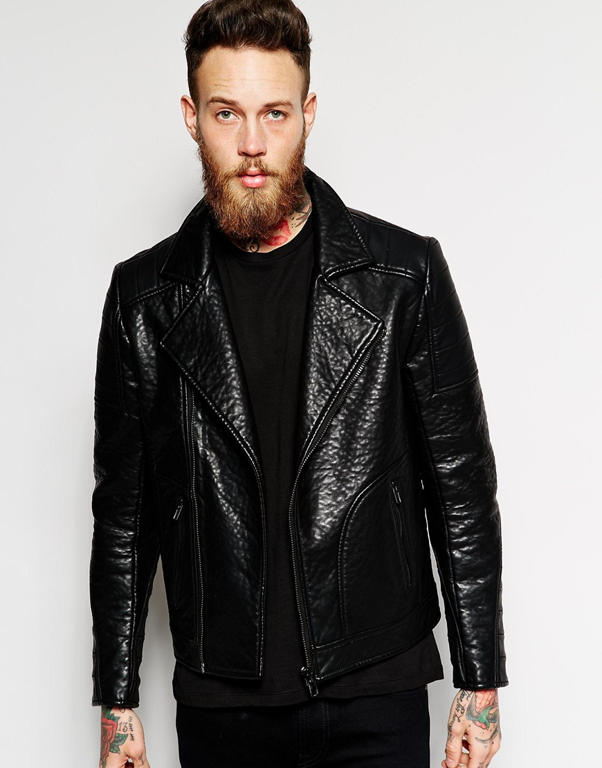 f81e0fd87 ASOS Black Faux Leather Biker Jacket for men