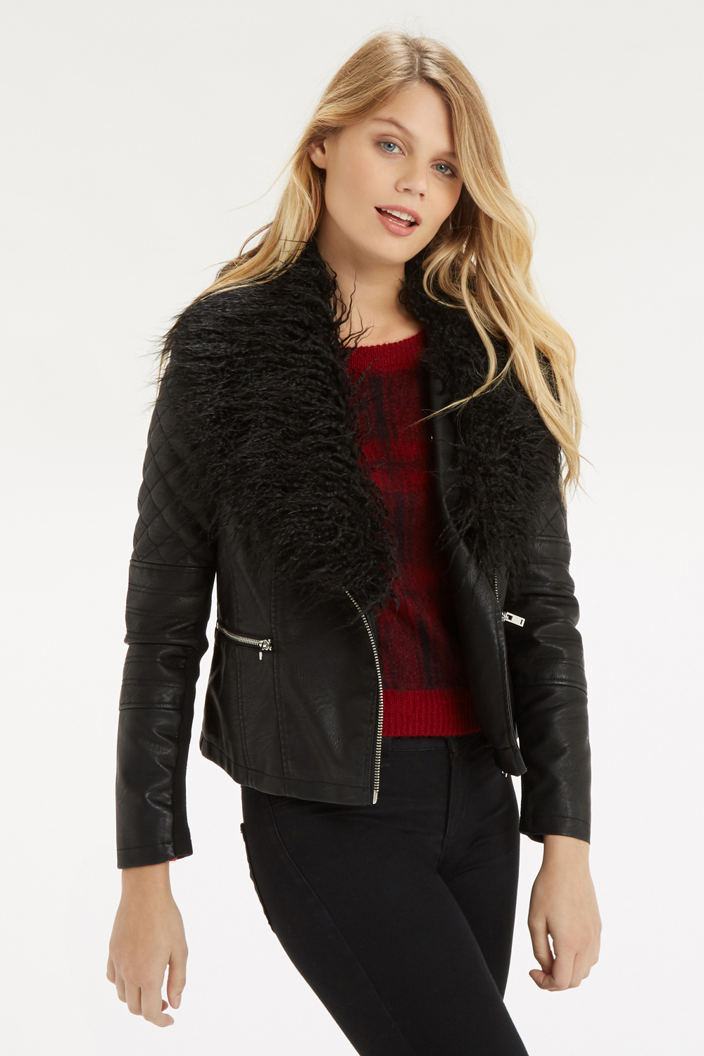 Oasis Detachable Faux Fur Collar Leather Jacket in Black | Lyst