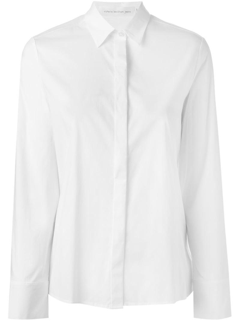 Lyst Victoria Beckham Concealed Placket Shirt In White