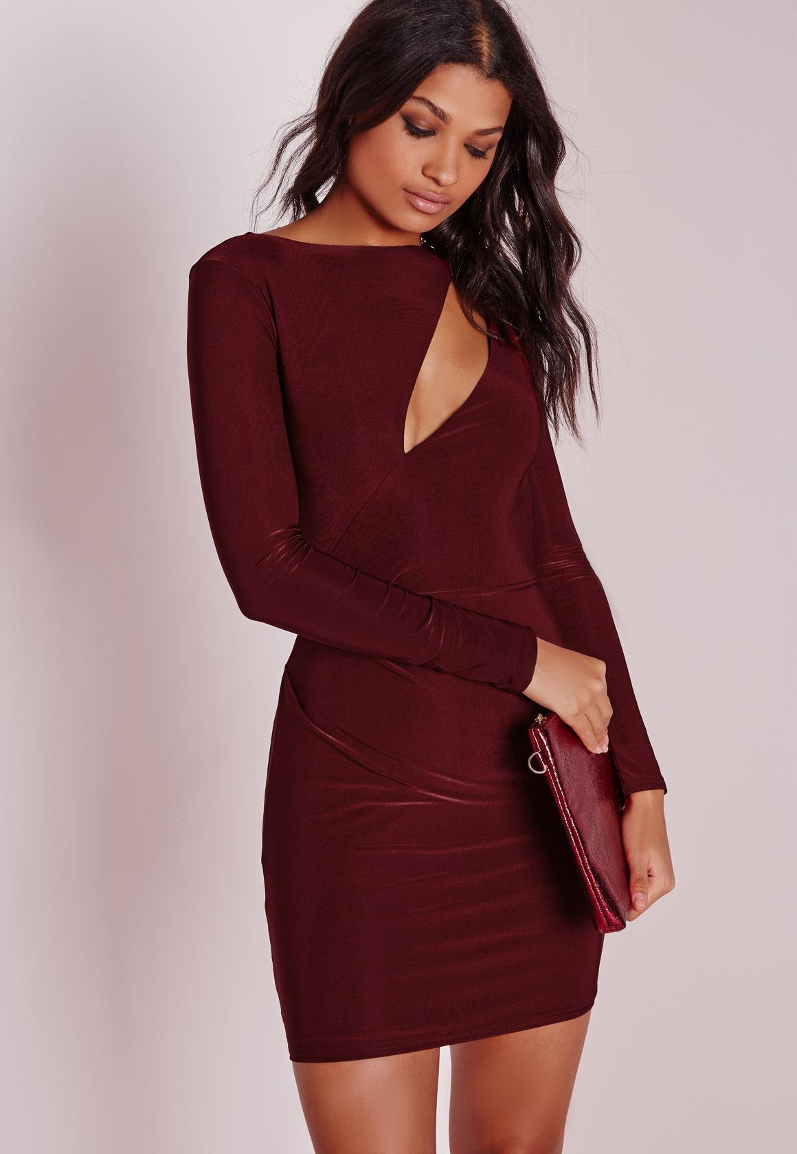 Burgundy Long Sleeve Bodycon Dress | Ejn Dress
