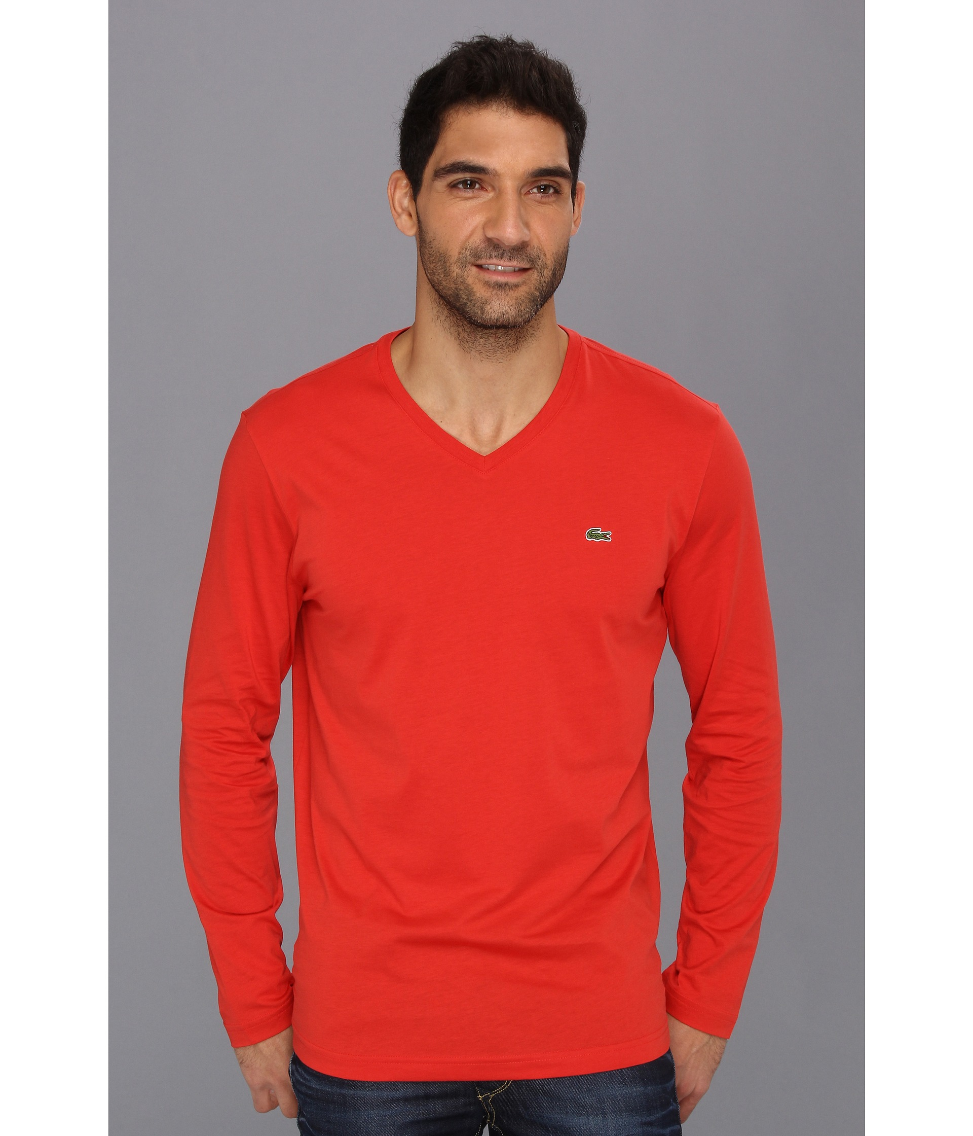 lacoste long sleeve pima jersey vneck tshirt in red for