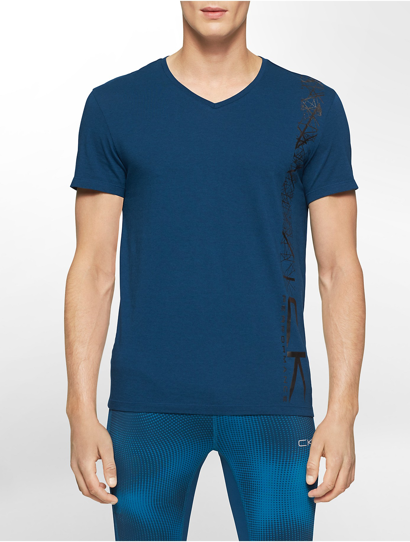 Lyst calvin klein white label performance geometric for Modal t shirts mens