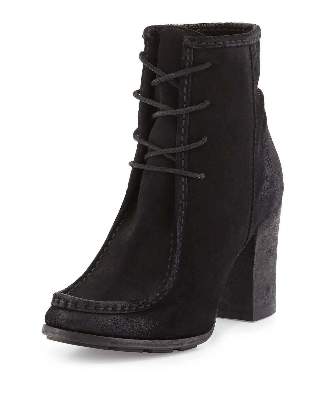frye suede moc boot in black lyst