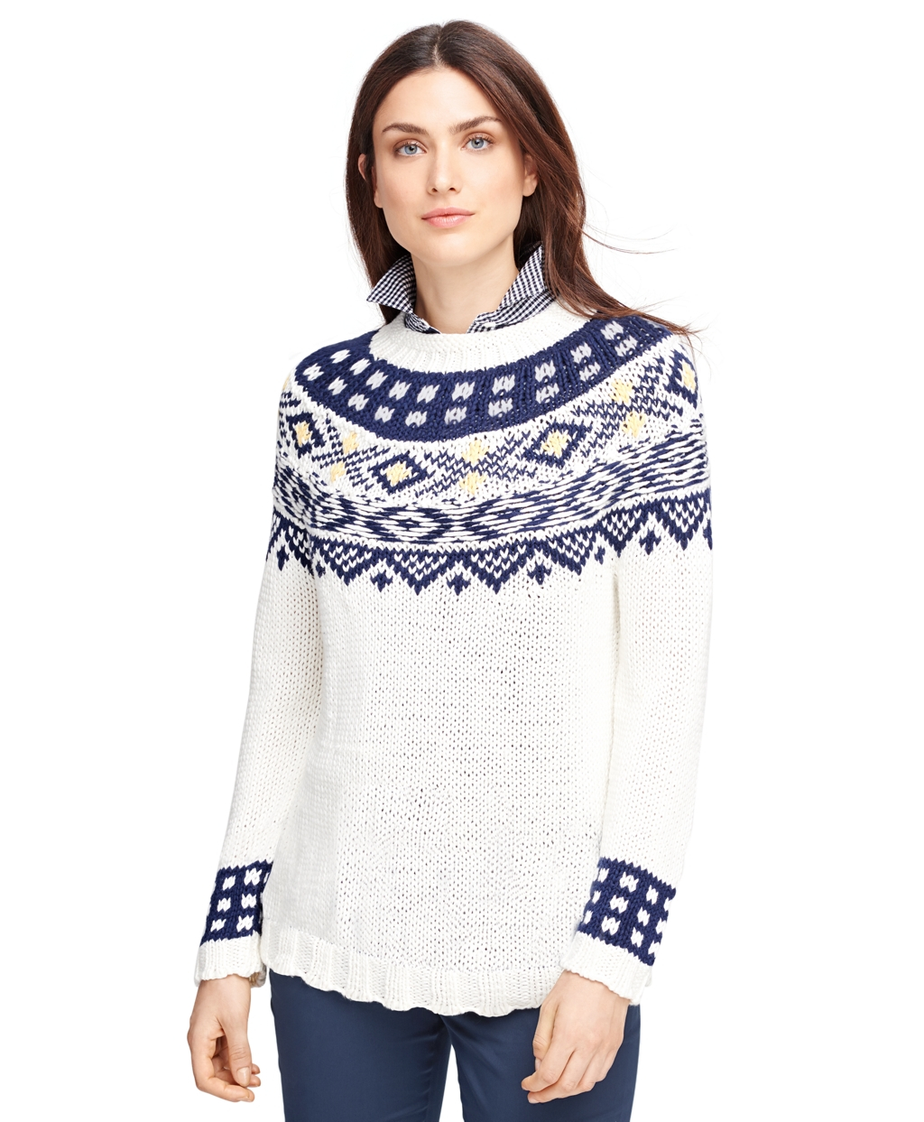 Brooks brothers Supima® Cotton Fair Isle Sweater in White | Lyst
