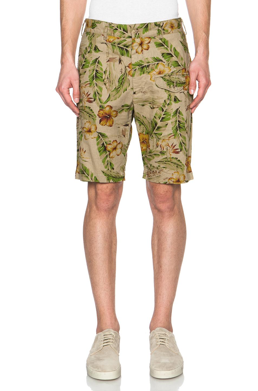 Engineered garments Men'S Cotton Linen Floral Print Ghurka Shorts ...