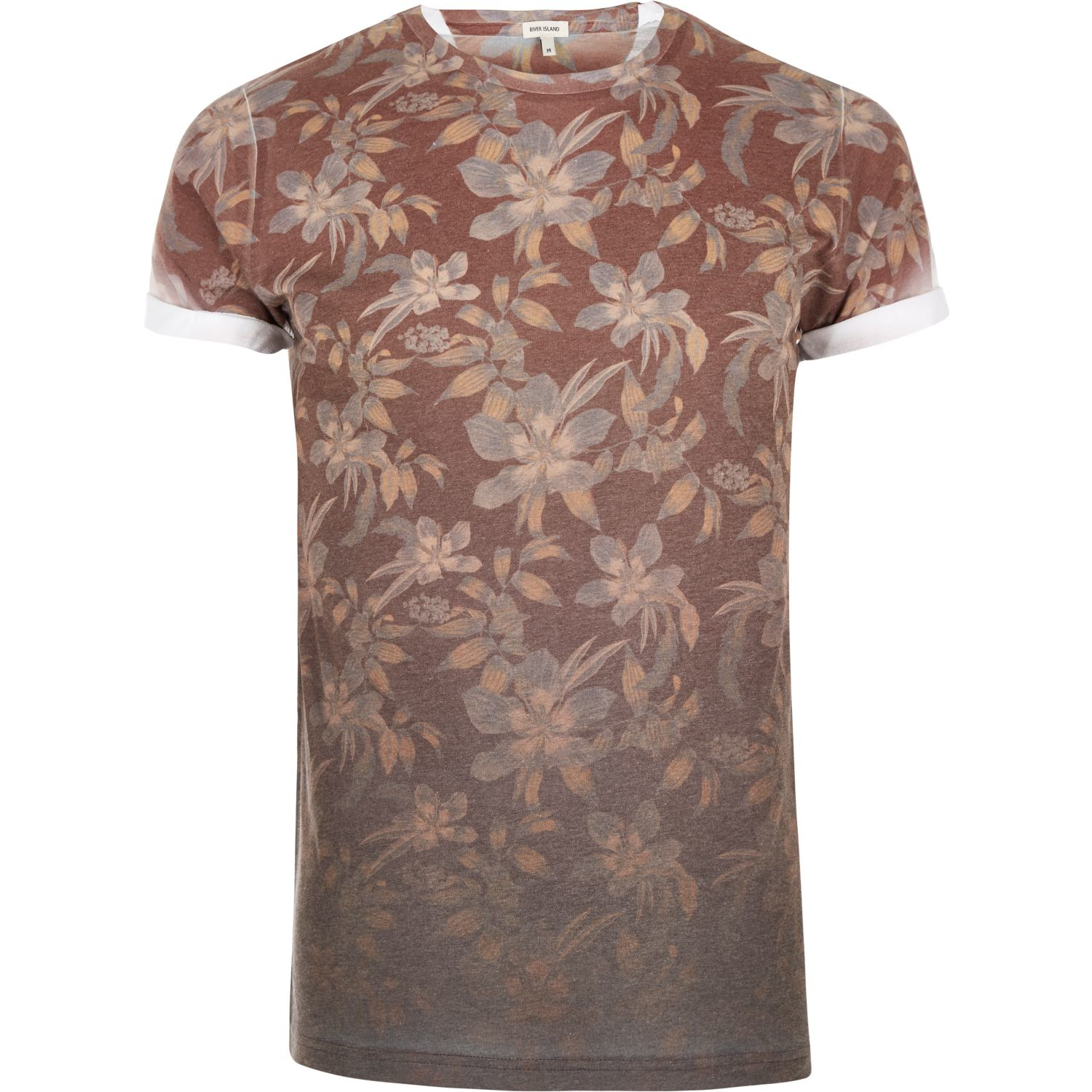 River island dark orange faded floral print t shirt in for Faded color t shirts