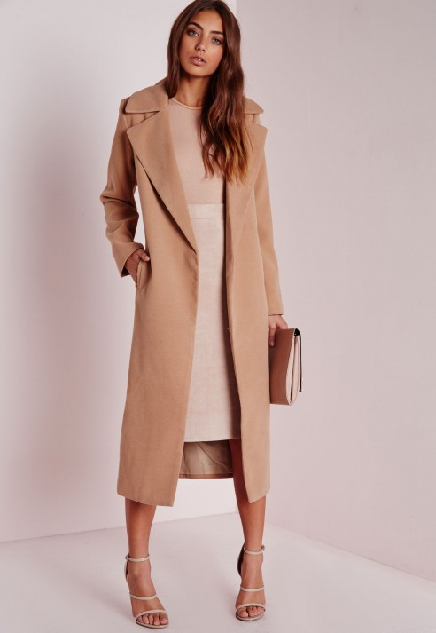 Missguided Oversized Camel Coat in Natural | Lyst