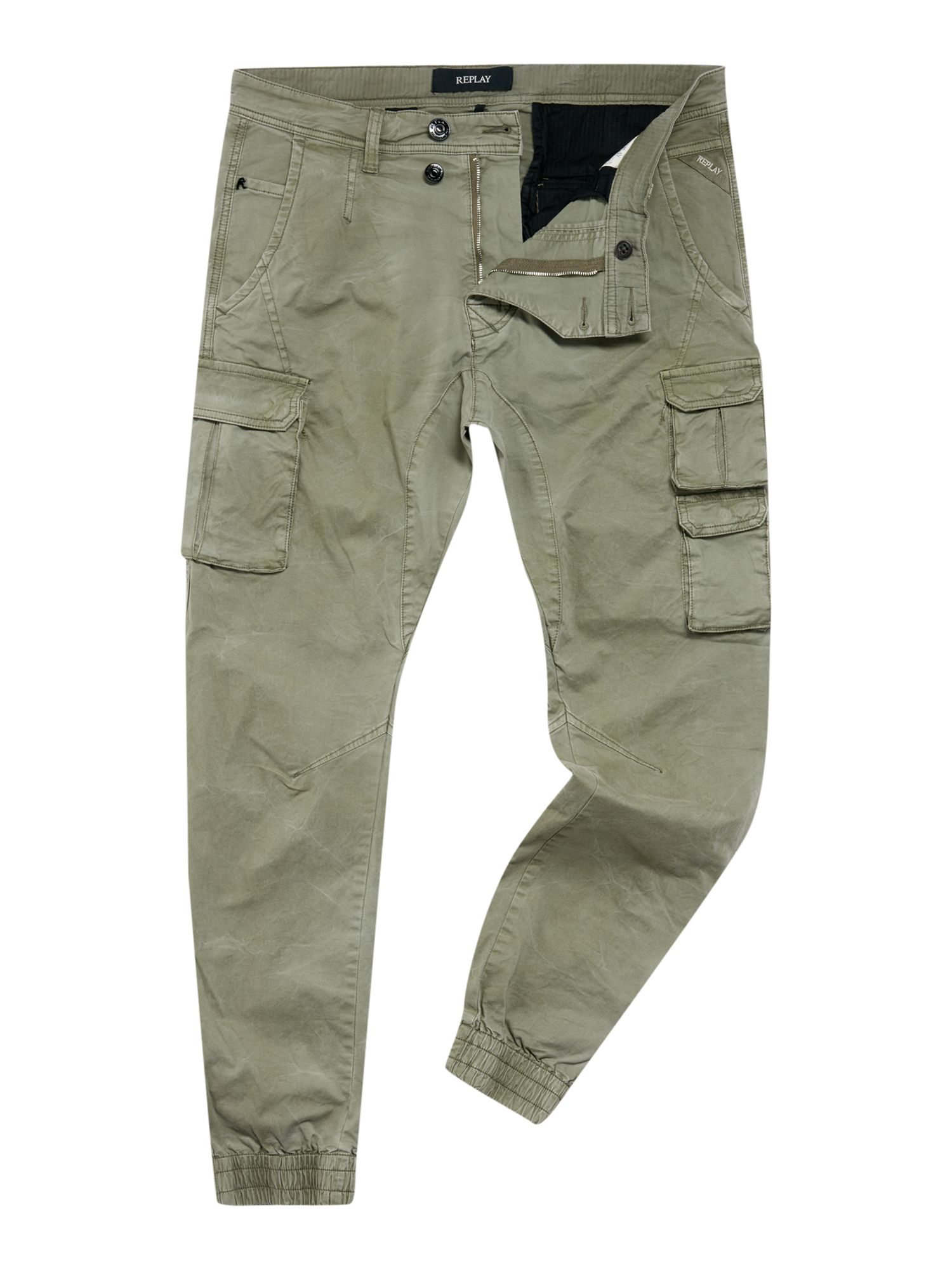 Replay Cotton Cargo Pant In Military Green Green For Men