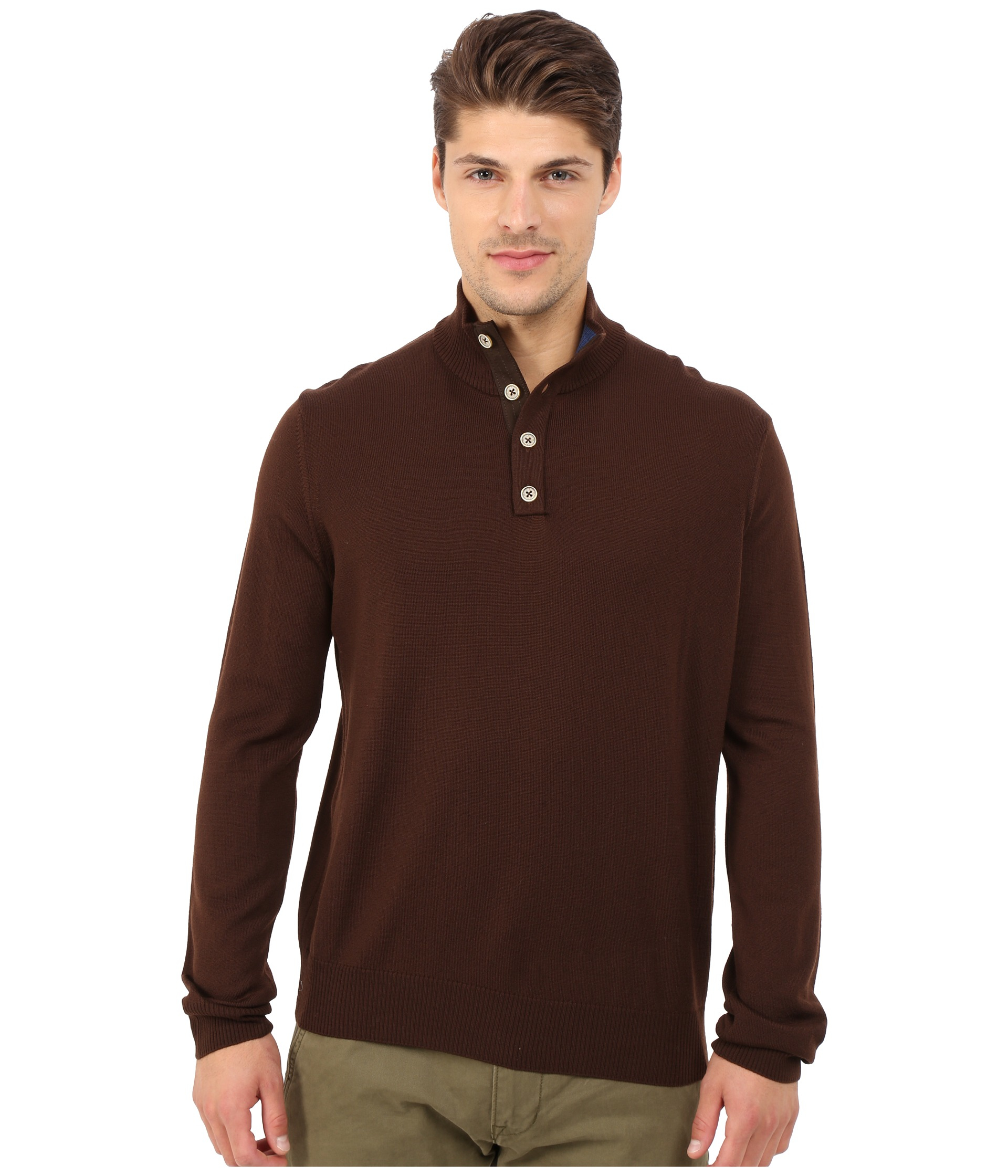 Thomas dean Long Sleeve Sweater Italian Extra-fine Merino Quarter ...