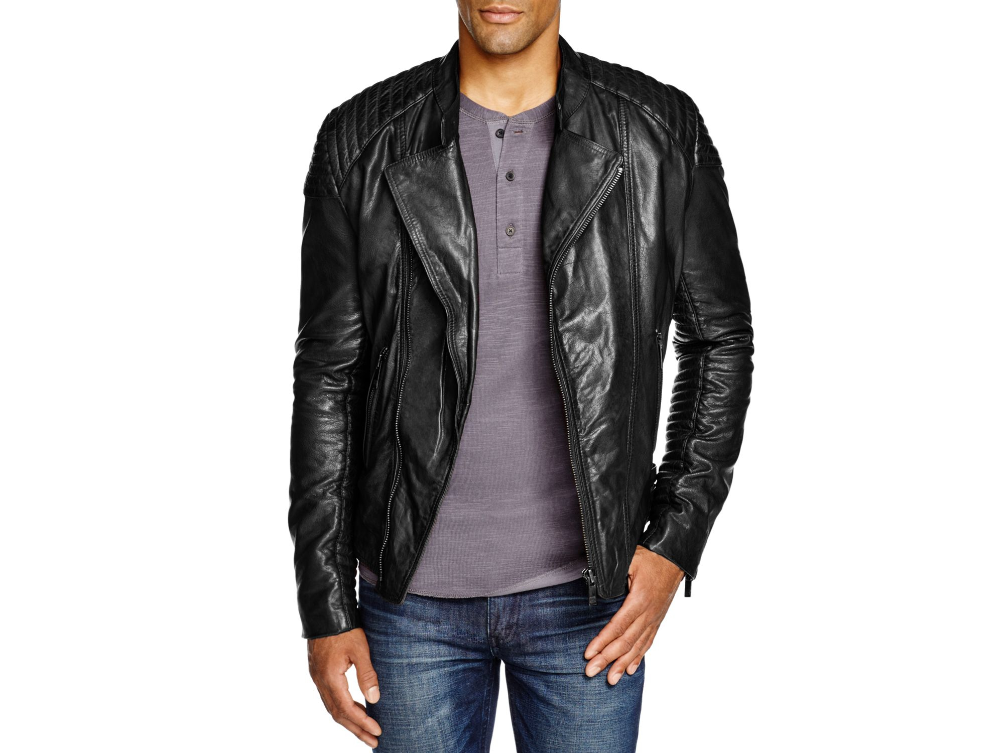 Lyst scotch soda leather biker jacket in black for men for Leather jacket and shirt