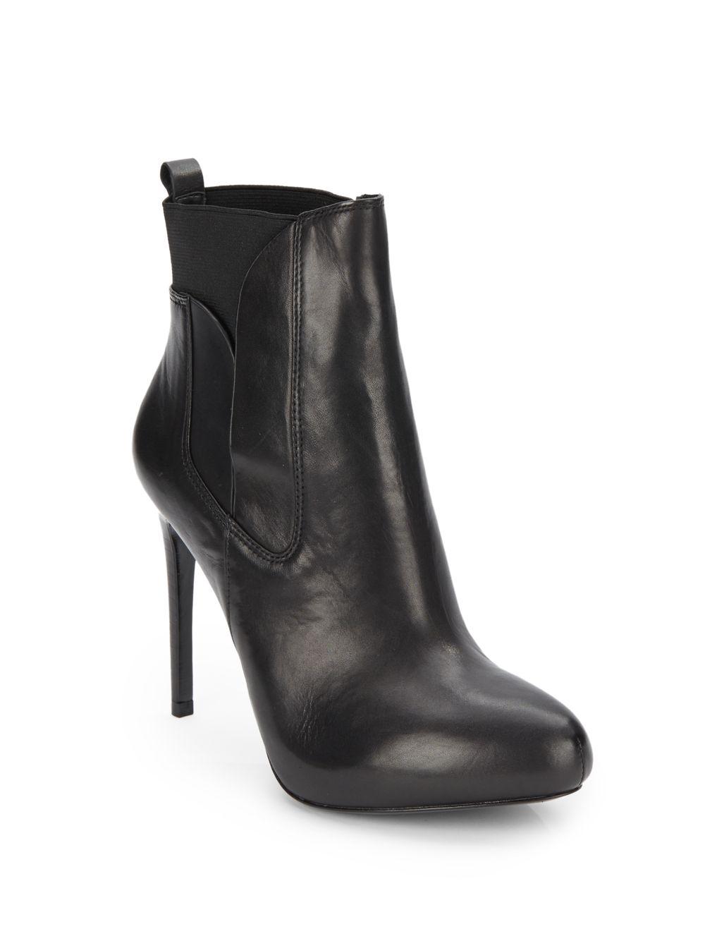 charles david yadira leather platform ankle boots in black
