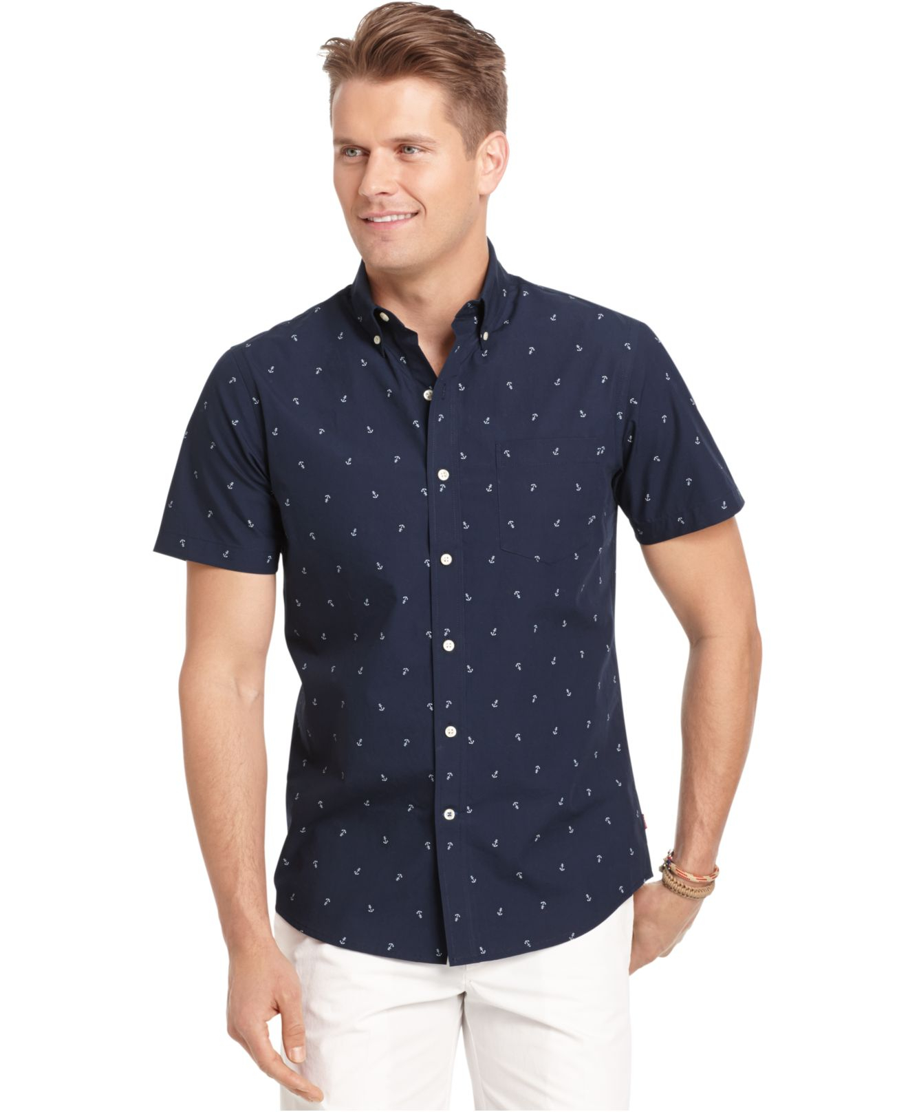 Lyst izod short sleeve anchor print shirt in blue for men for Izod button down shirts